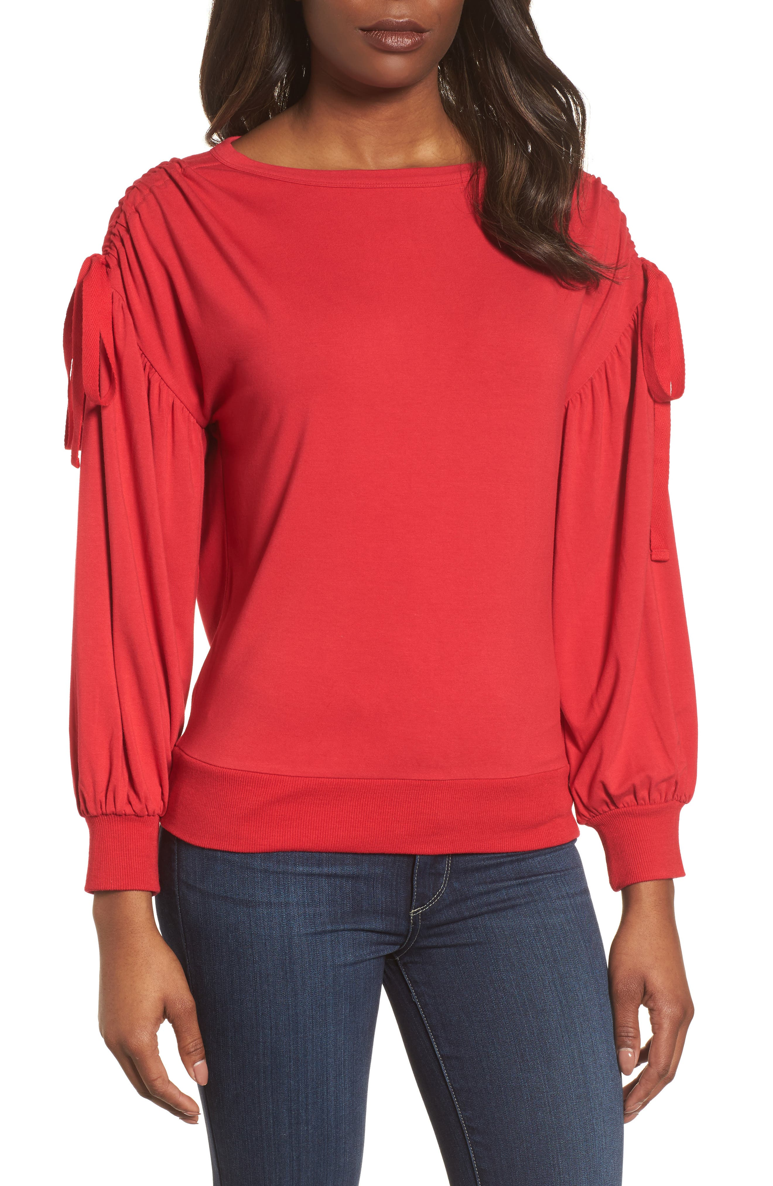 Halogen® Ruched Bow Sleeve Top (Regular & Petite)