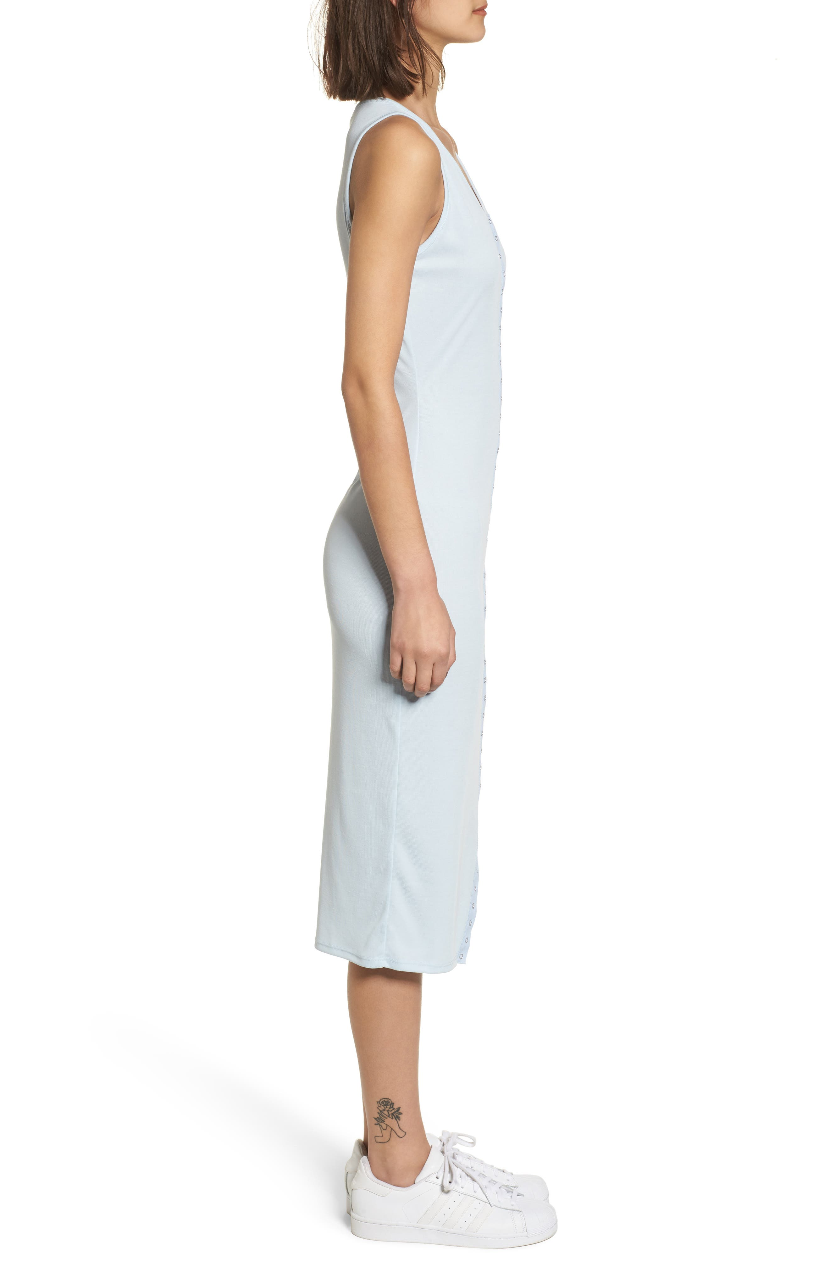 Snap Front Midi Dress,                             Alternate thumbnail 3, color,                             Blue Omphalodes