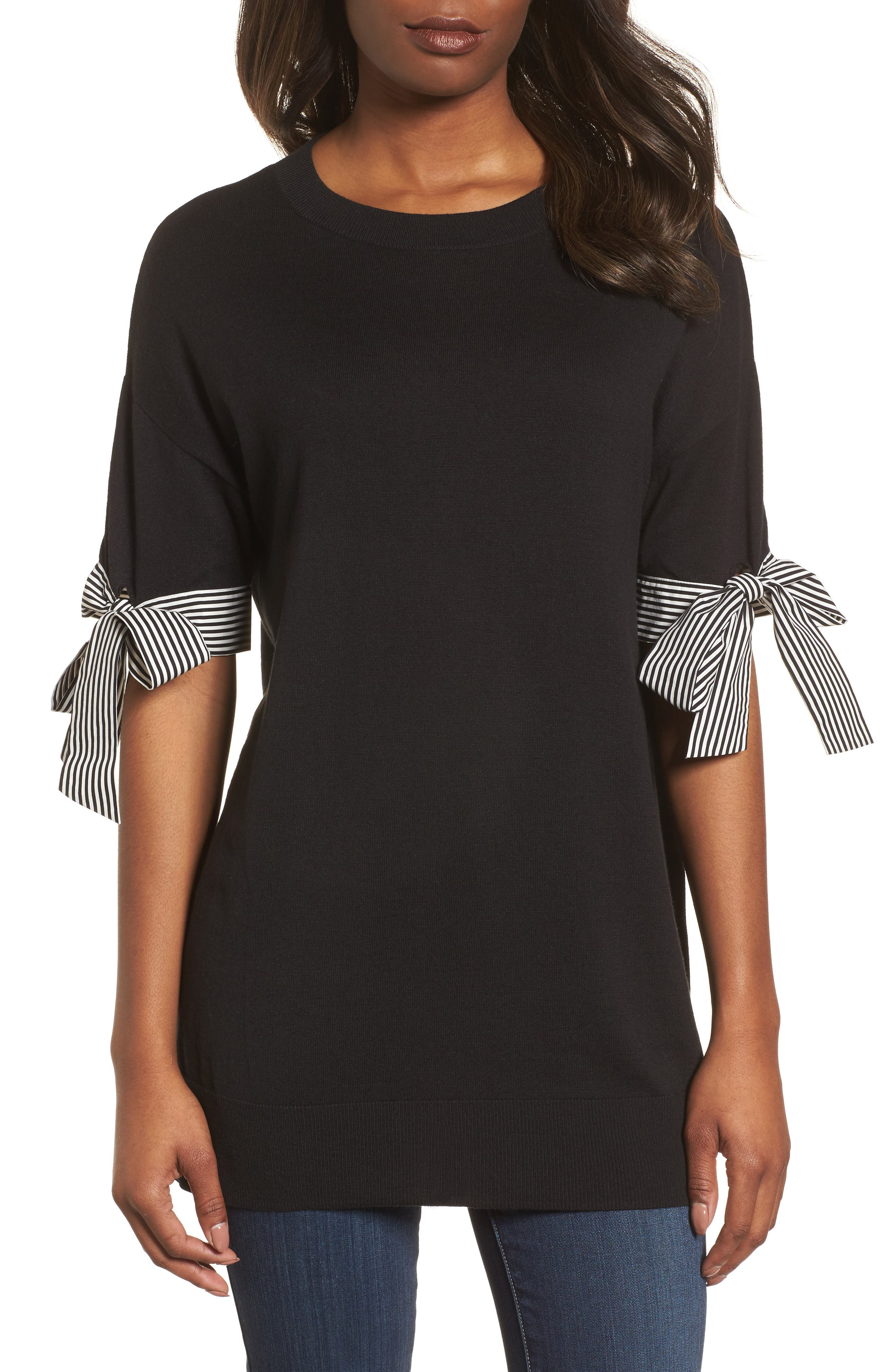 Poplin Bow Detail Sweater,                             Main thumbnail 1, color,                             Black