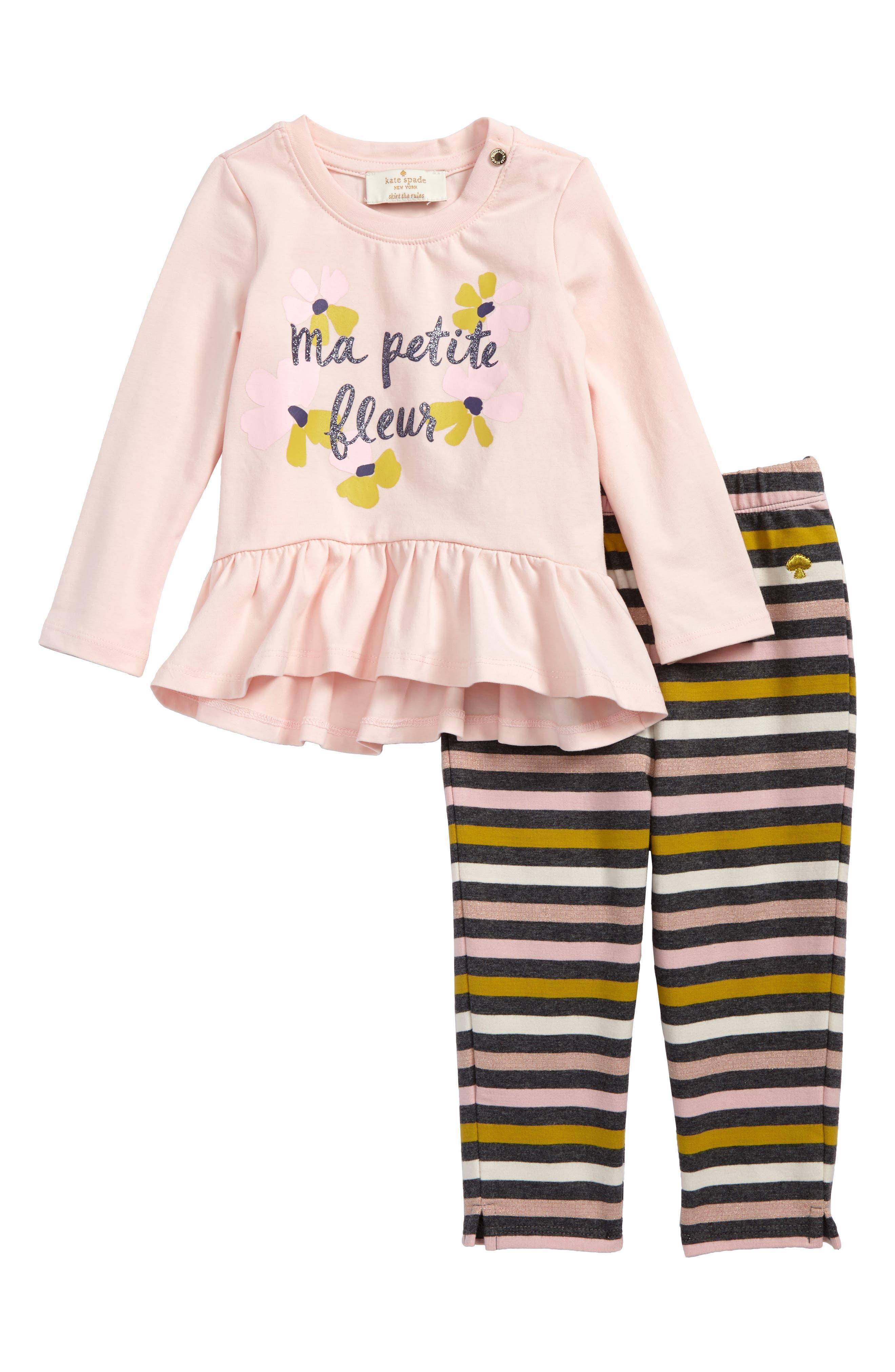kate spade new york petit fleur ruffle top & leggings set (Baby Girls)