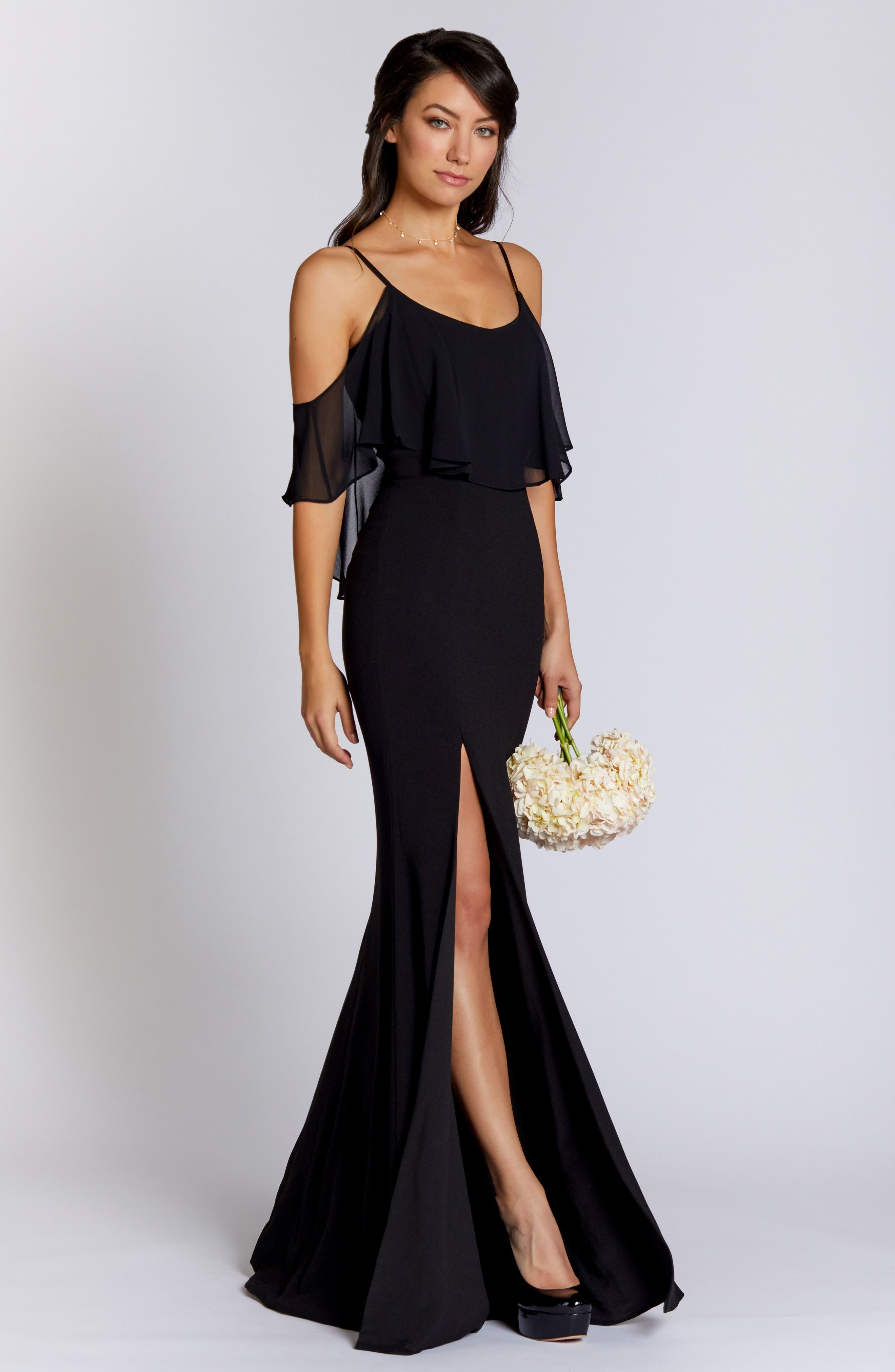Diana Cold Shoulder Side Slit Gown,                             Alternate thumbnail 2, color,                             Black