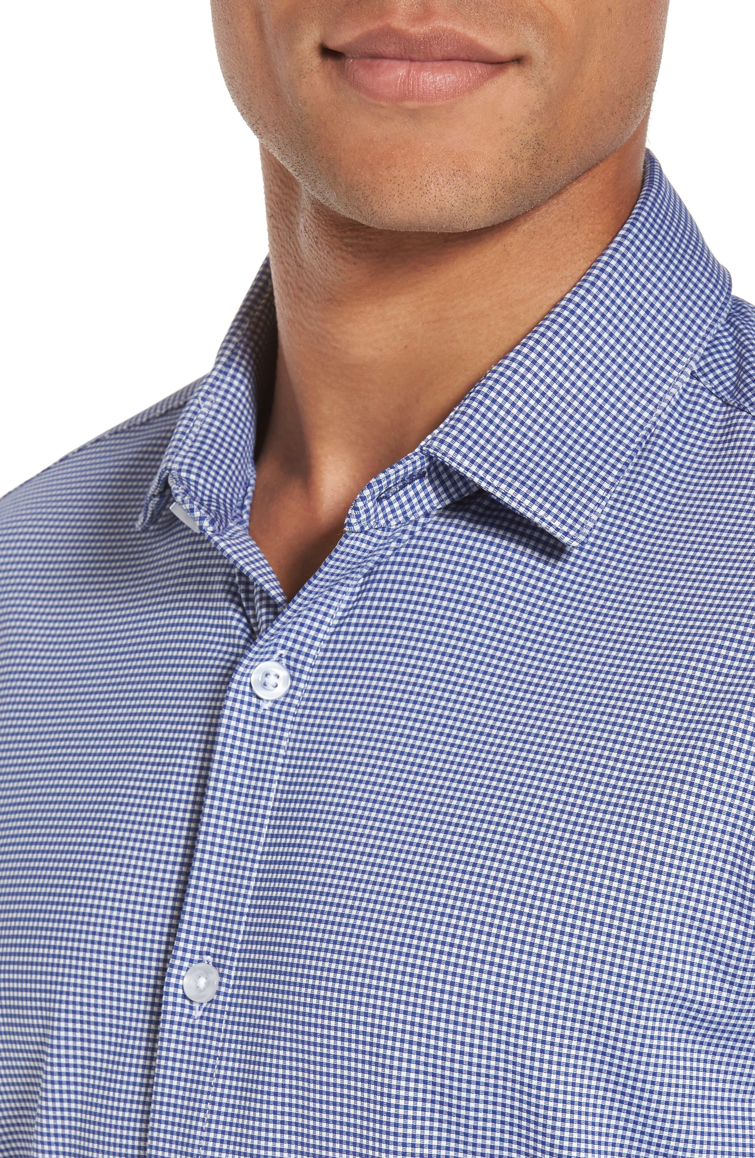 Davenport Gingham Sport Shirt,                             Alternate thumbnail 4, color,                             Black