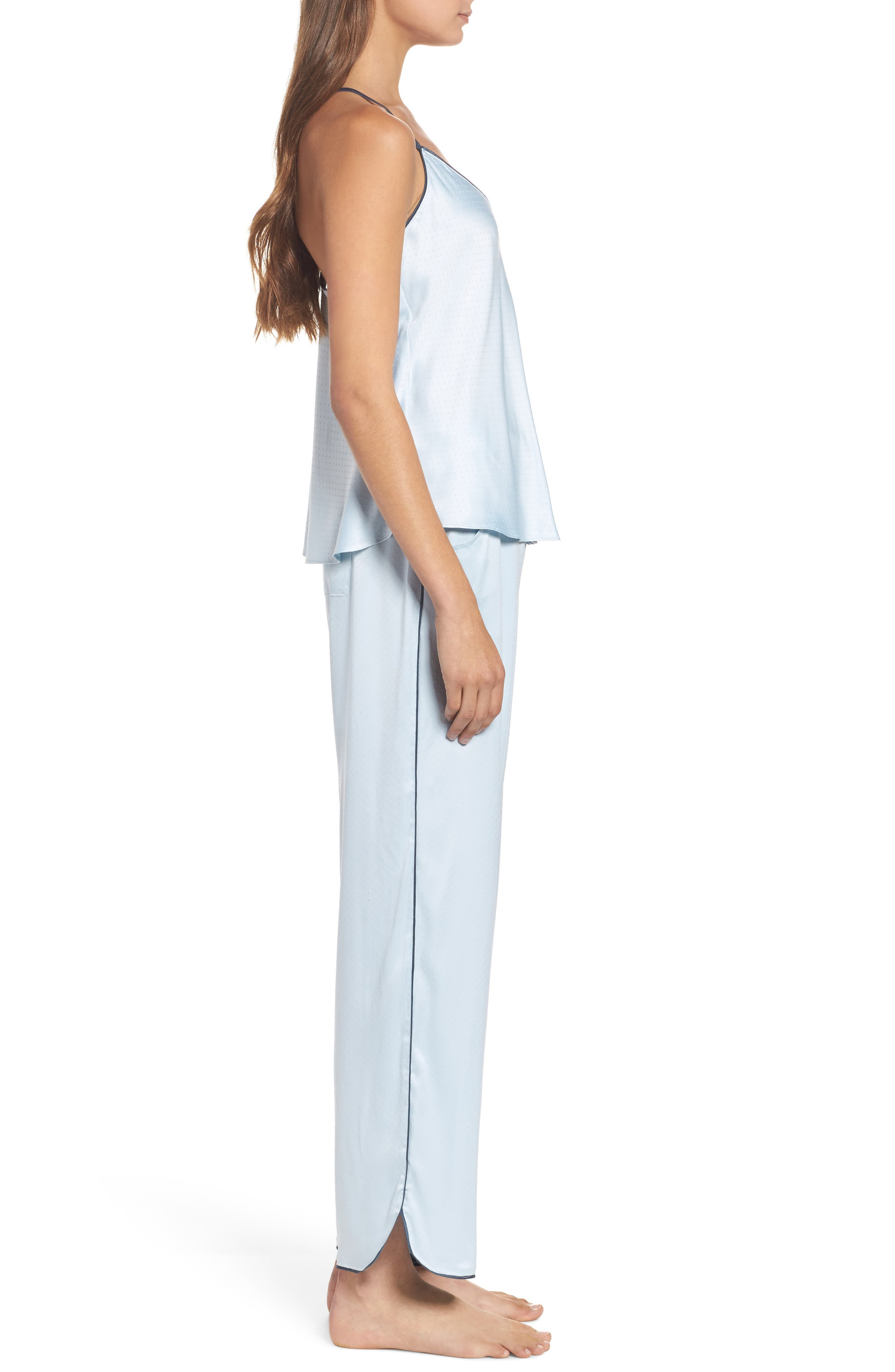 Chelsea27 Late Nights Satin Lounge Pants,                             Alternate thumbnail 6, color,                             Blue Drift
