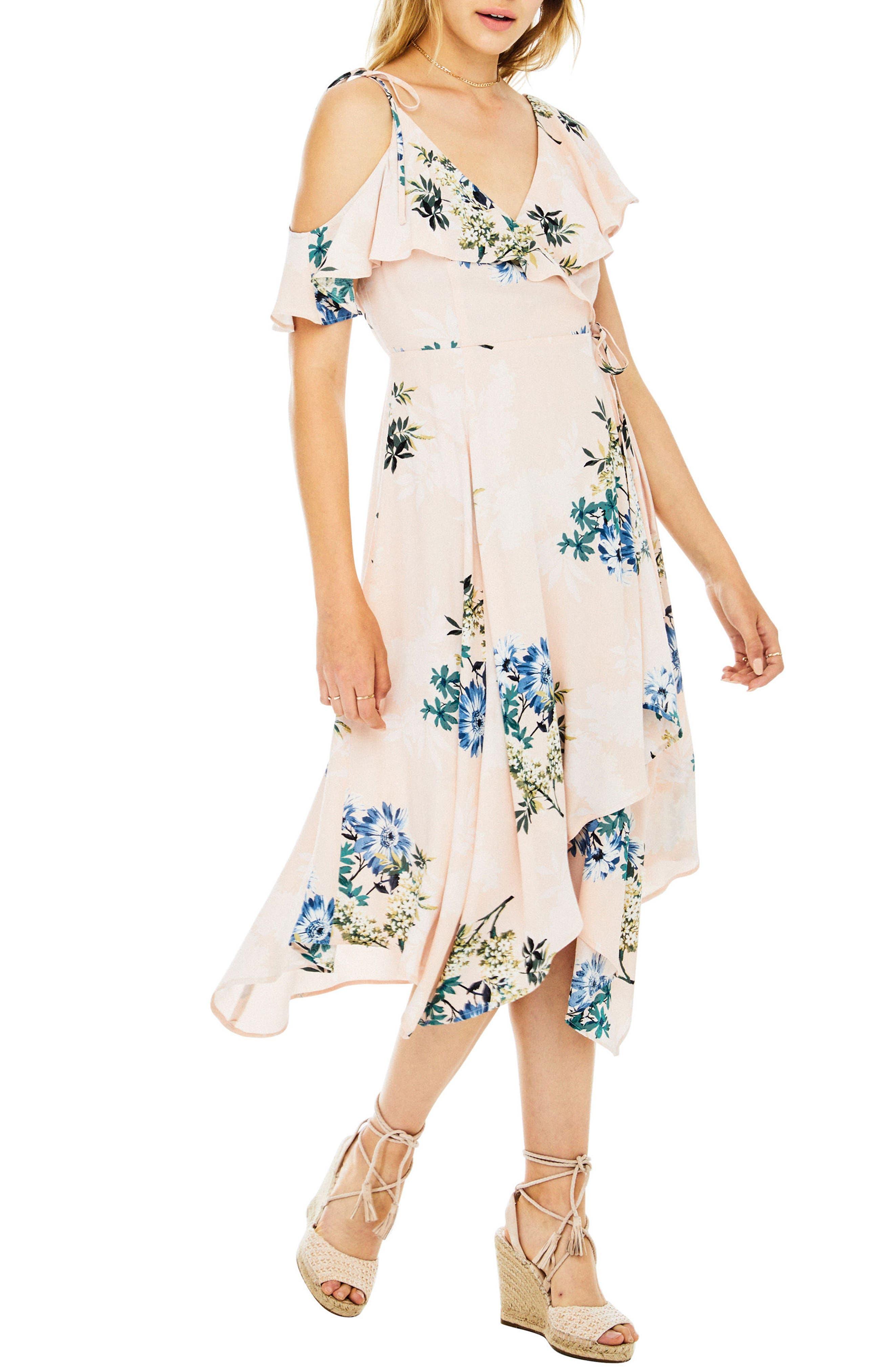 Yessenia Wrap Dress,                             Alternate thumbnail 3, color,                             Blush Multi Floral