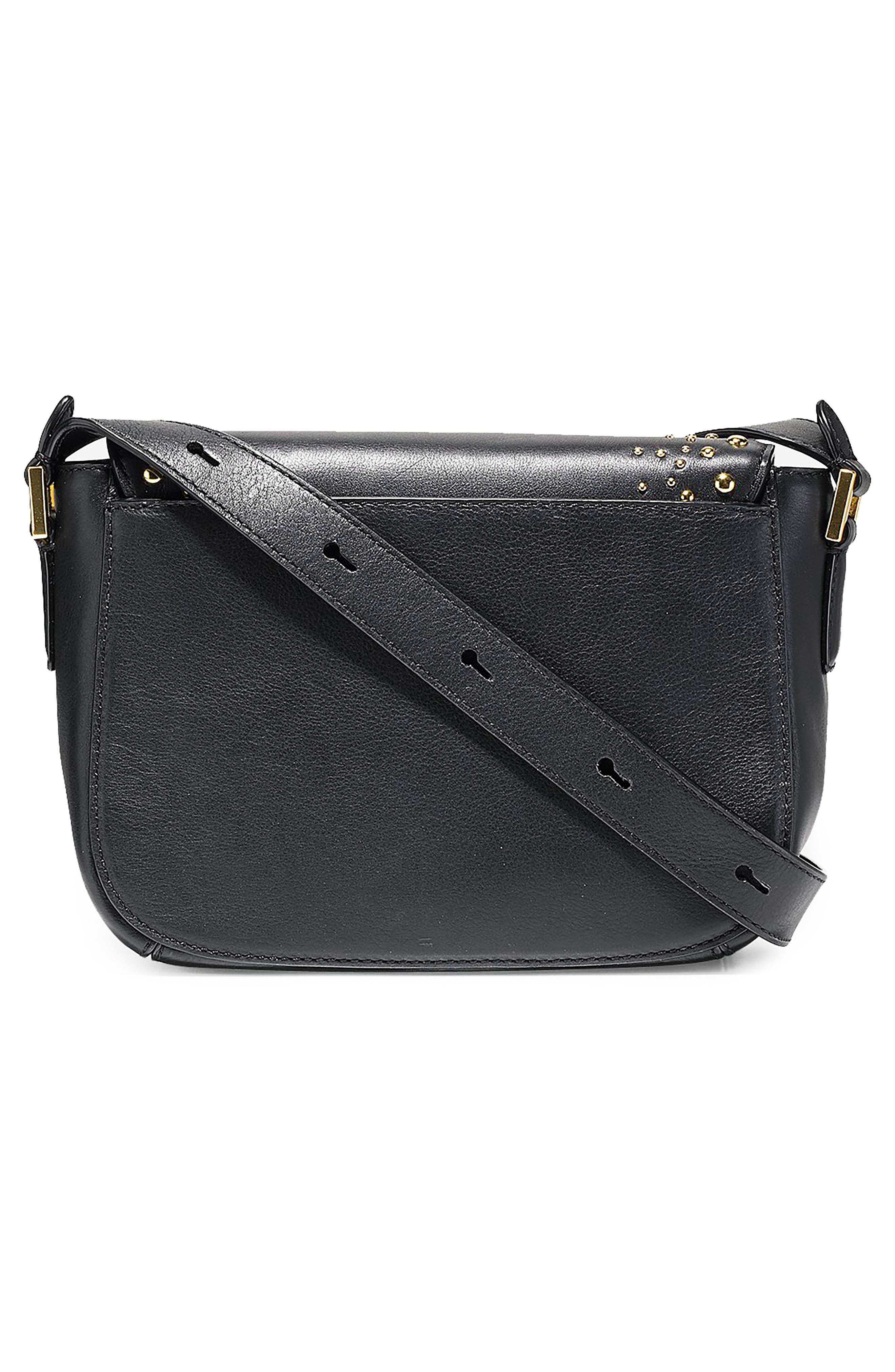 Mini Marli Studded Leather Saddle Bag,                             Alternate thumbnail 2, color,                             Black