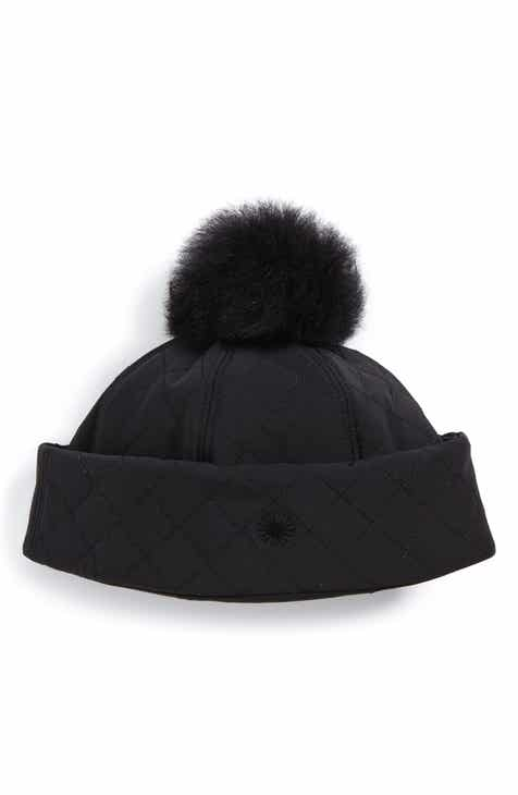 05bd6907375 UGG® Australia Water Resistant Quilted Hat with Genuine Shearling Pompom