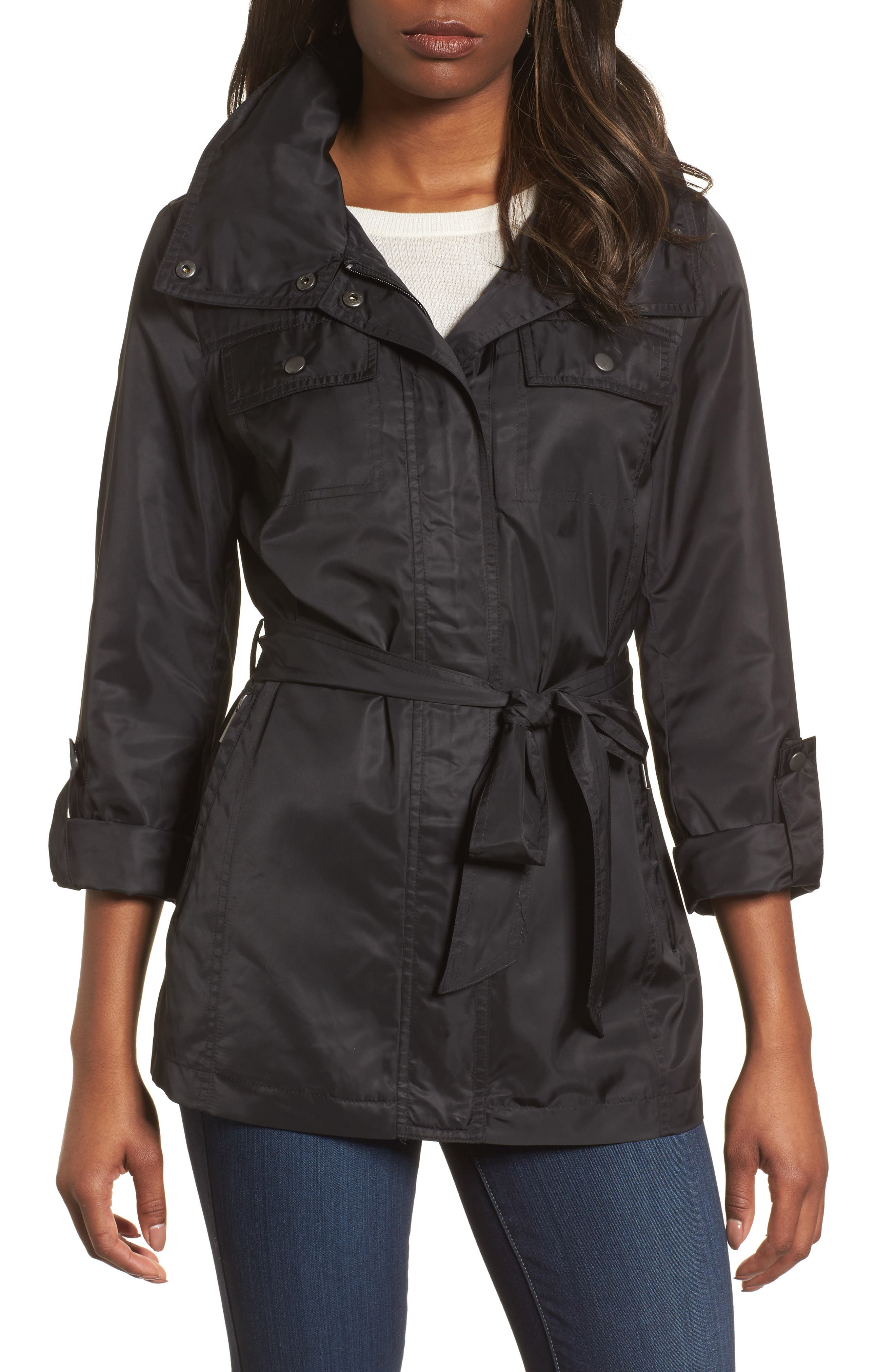 Belted Lightweight Jacket,                             Main thumbnail 1, color,                             Black