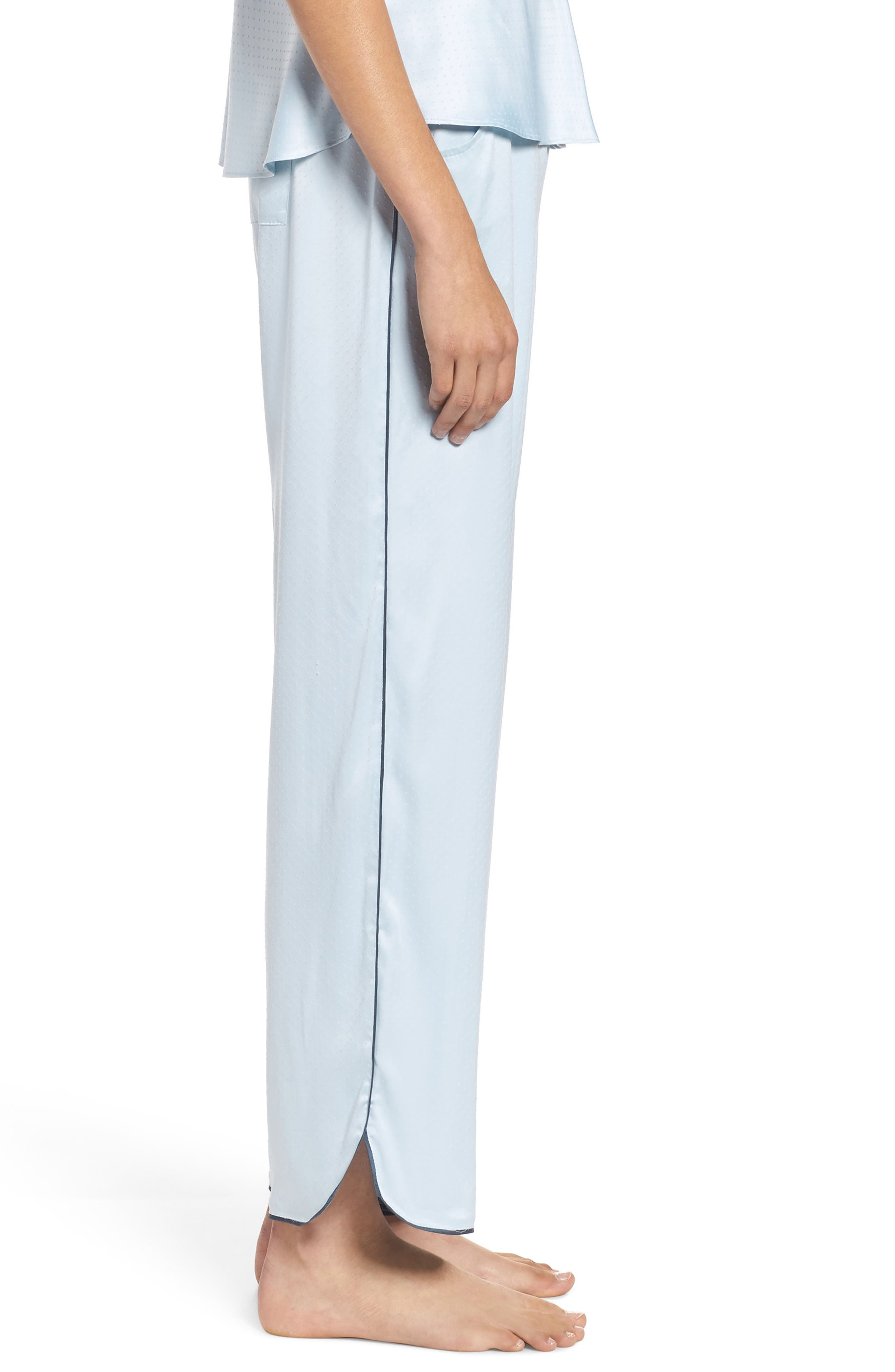 Chelsea27 Late Nights Satin Lounge Pants,                             Alternate thumbnail 3, color,                             Blue Drift