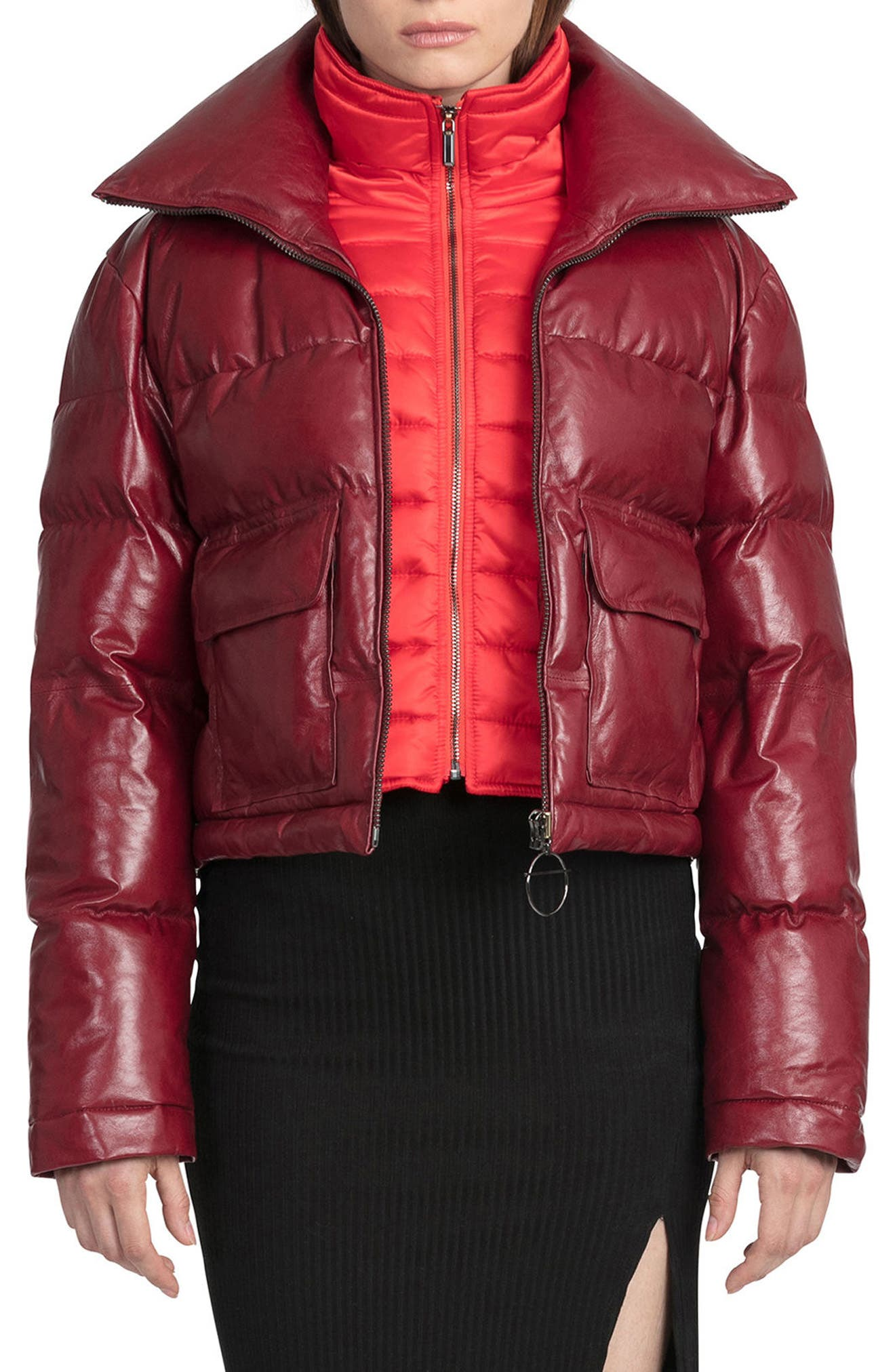 BAGATELLE.CITY The Puffer Leather Jacket with Removable Bib Lining,                         Main,                         color, Deep Red