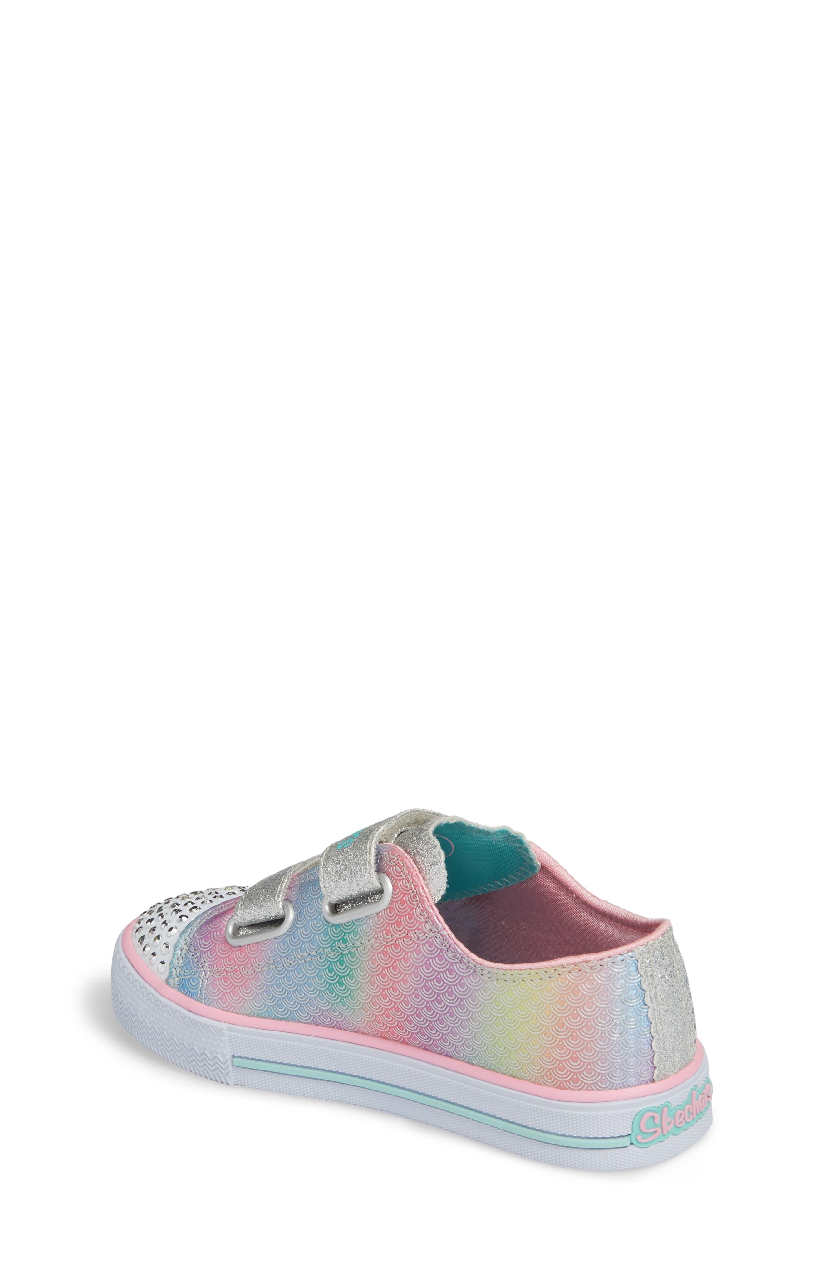 Shuffles - Itsy Bitsy Light-Up Sneaker,                             Alternate thumbnail 2, color,                             Silver/ Multi