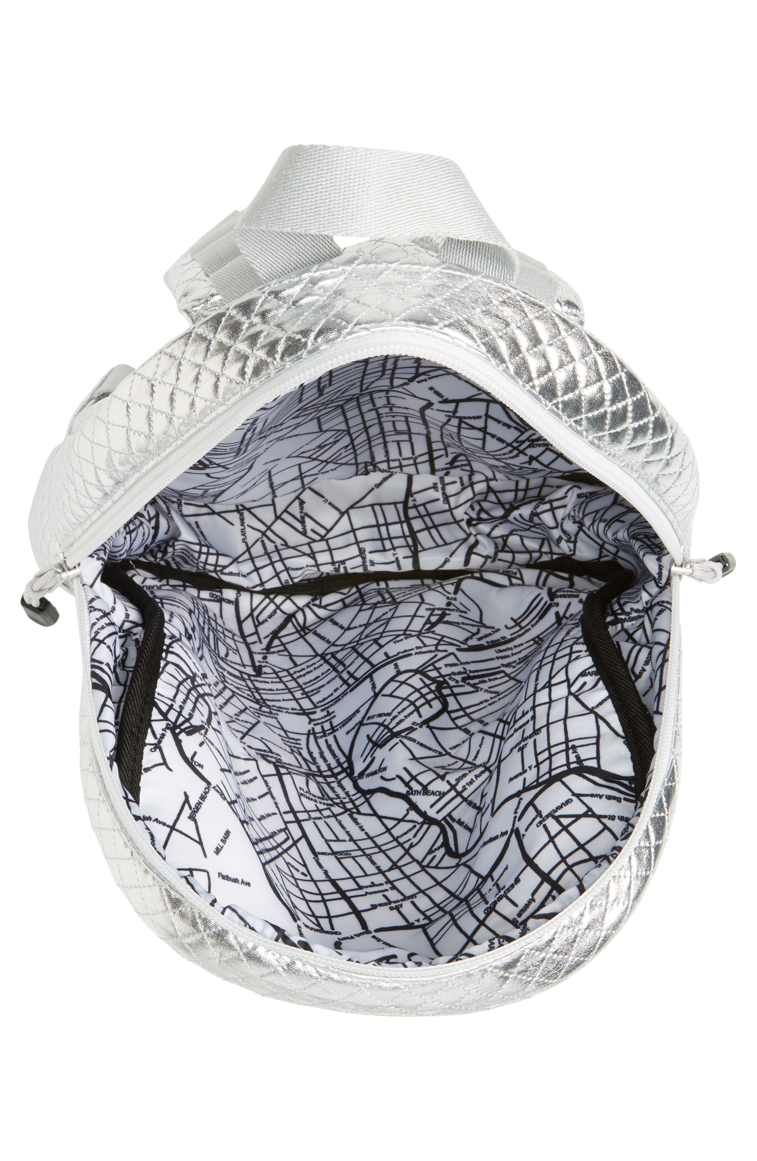 Flatbush Mini Kane Backpack,                             Alternate thumbnail 4, color,                             Silver Quilted