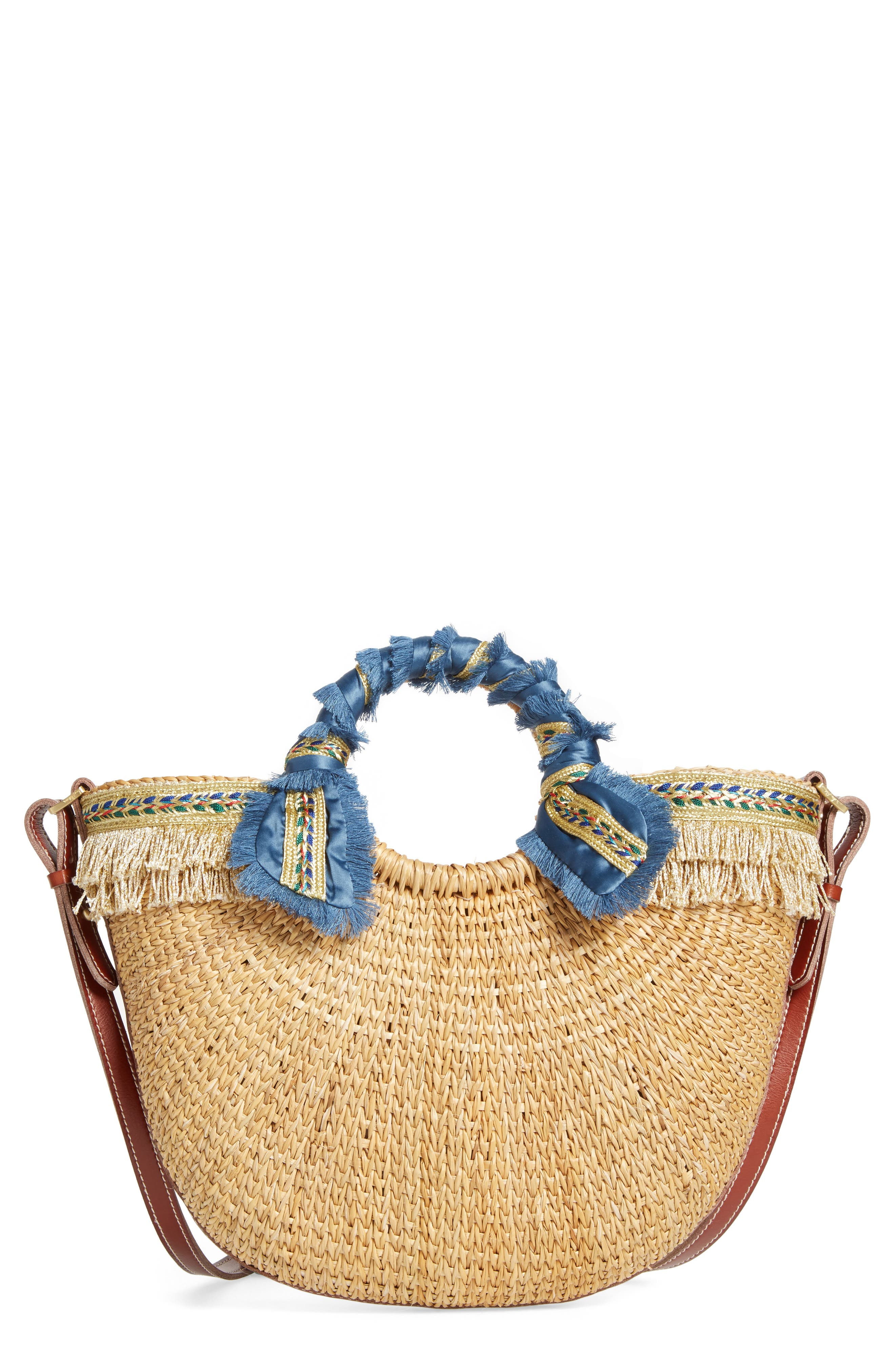 Metallic Fringed Straw Tote,                         Main,                         color, Gold Multi