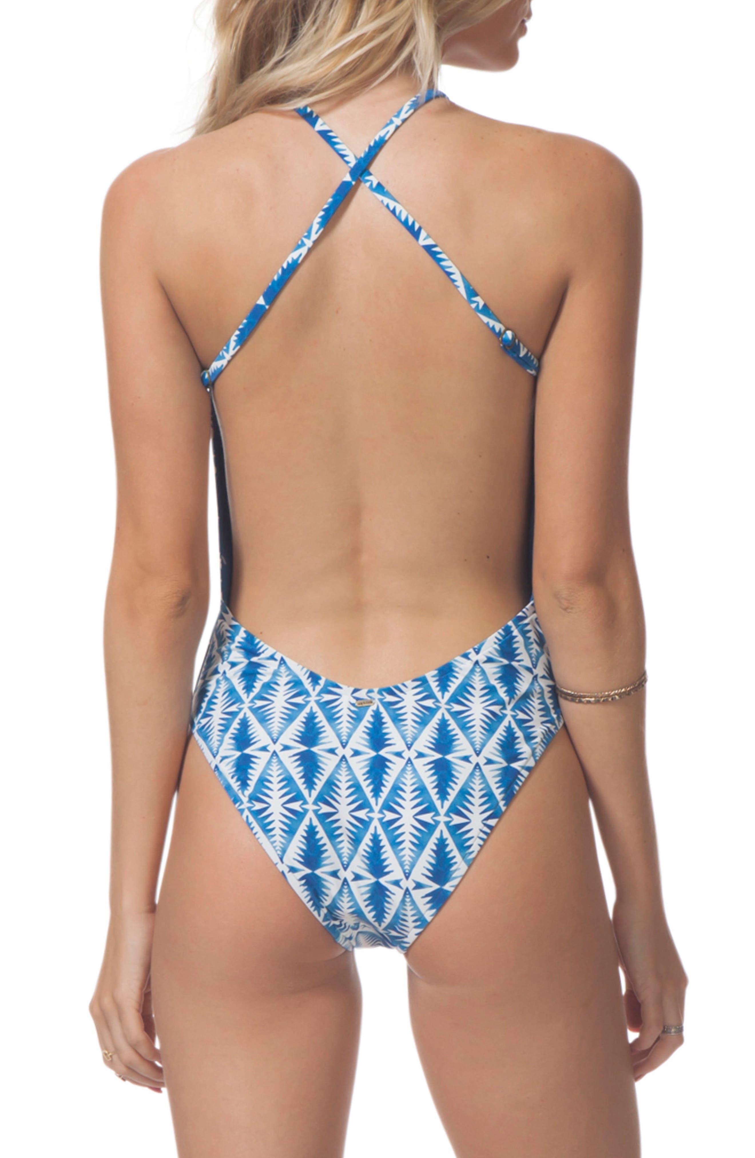 Beach Bazaar One-Piece Swimsuit,                             Alternate thumbnail 2, color,                             Blue