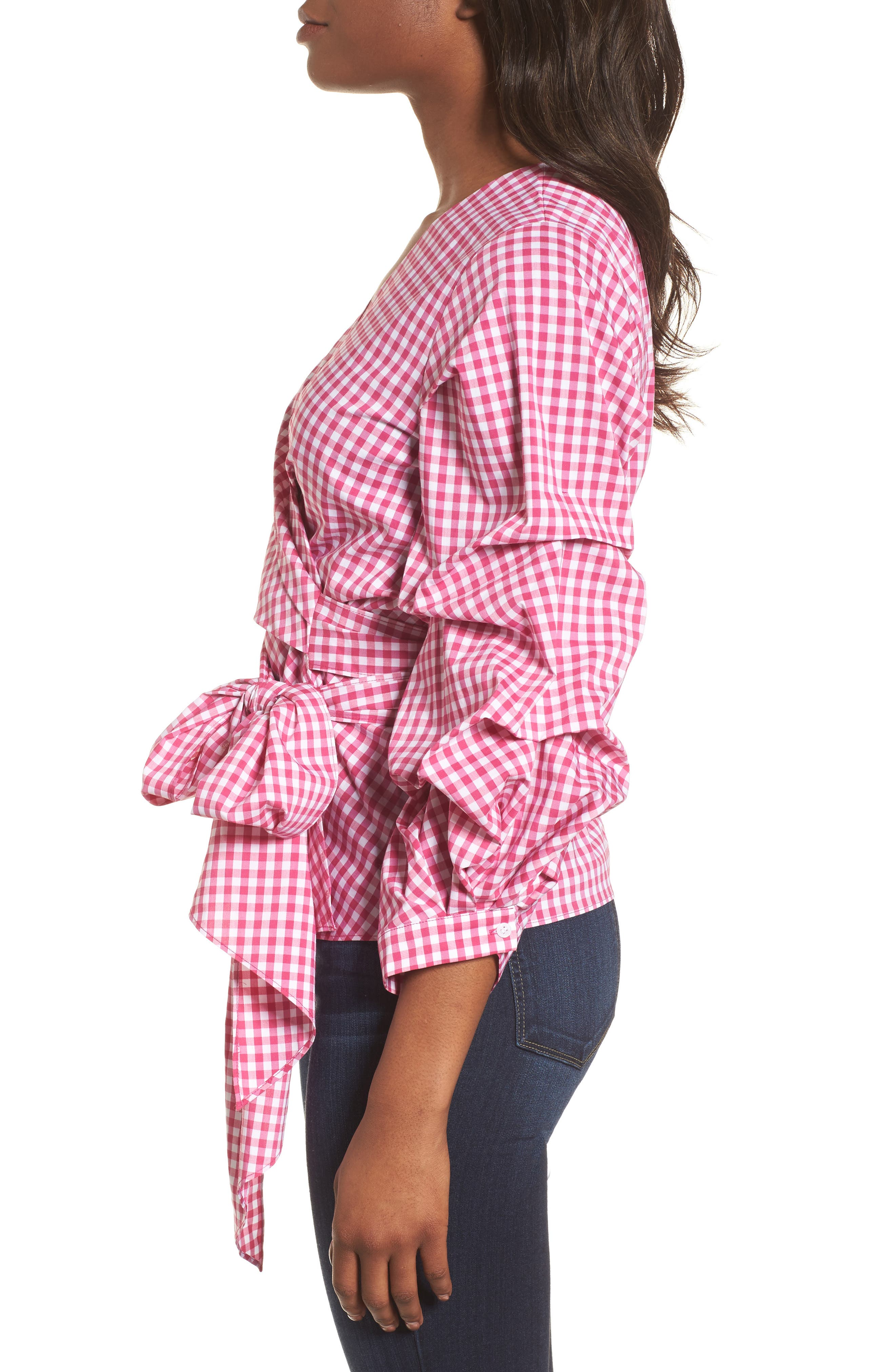 Pintuck Blouson Sleeve Wrap Top,                             Alternate thumbnail 3, color,                             Pink- White Gingham