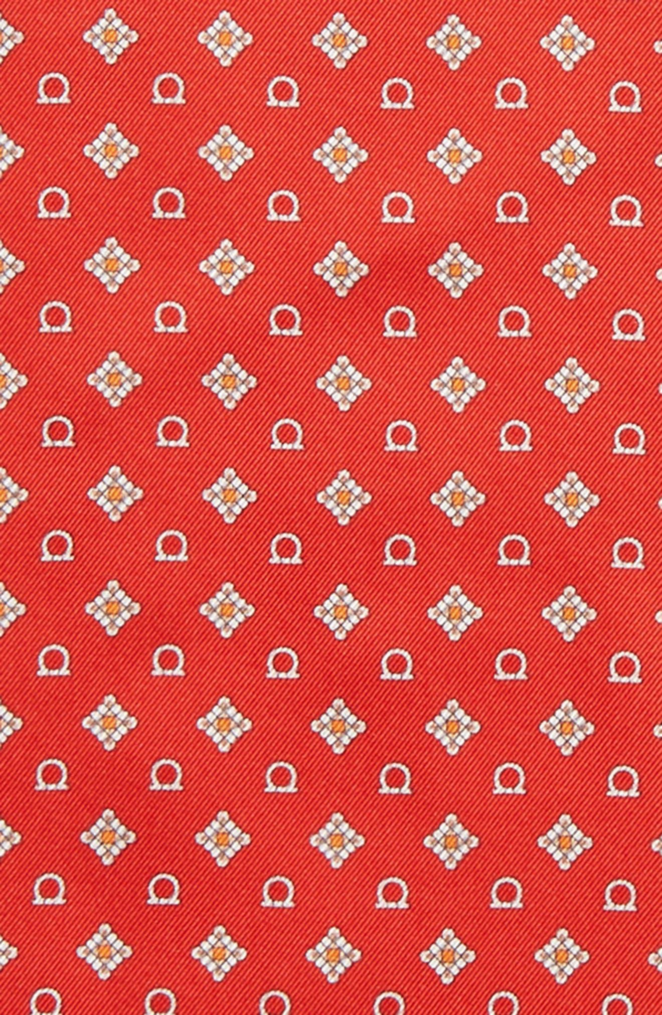 Edison Medallion Silk Pocket Square,                             Alternate thumbnail 3, color,                             Red