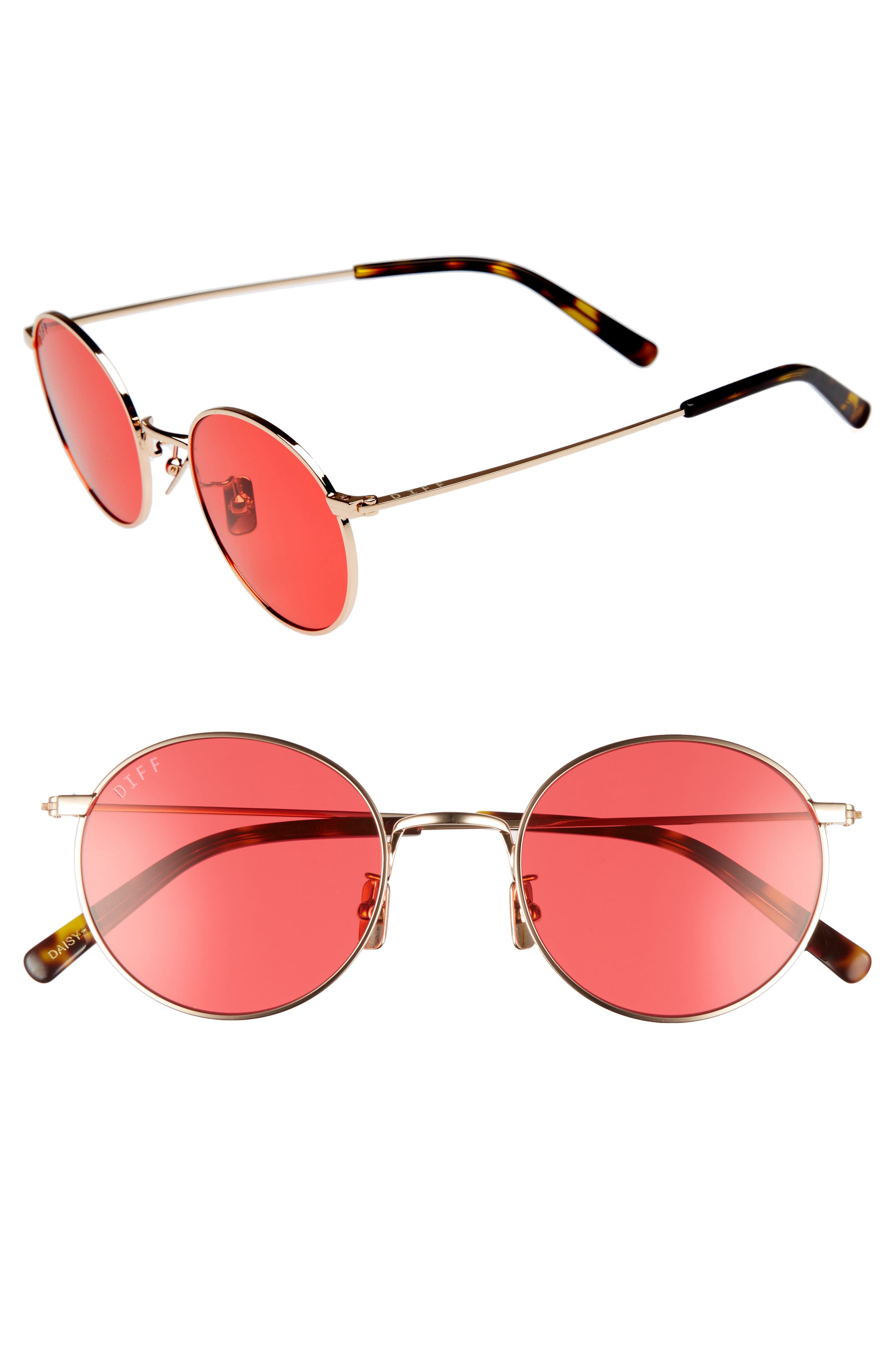 Daisy 51mm Round Sunglasses,                             Main thumbnail 1, color,                             Gold/ Red