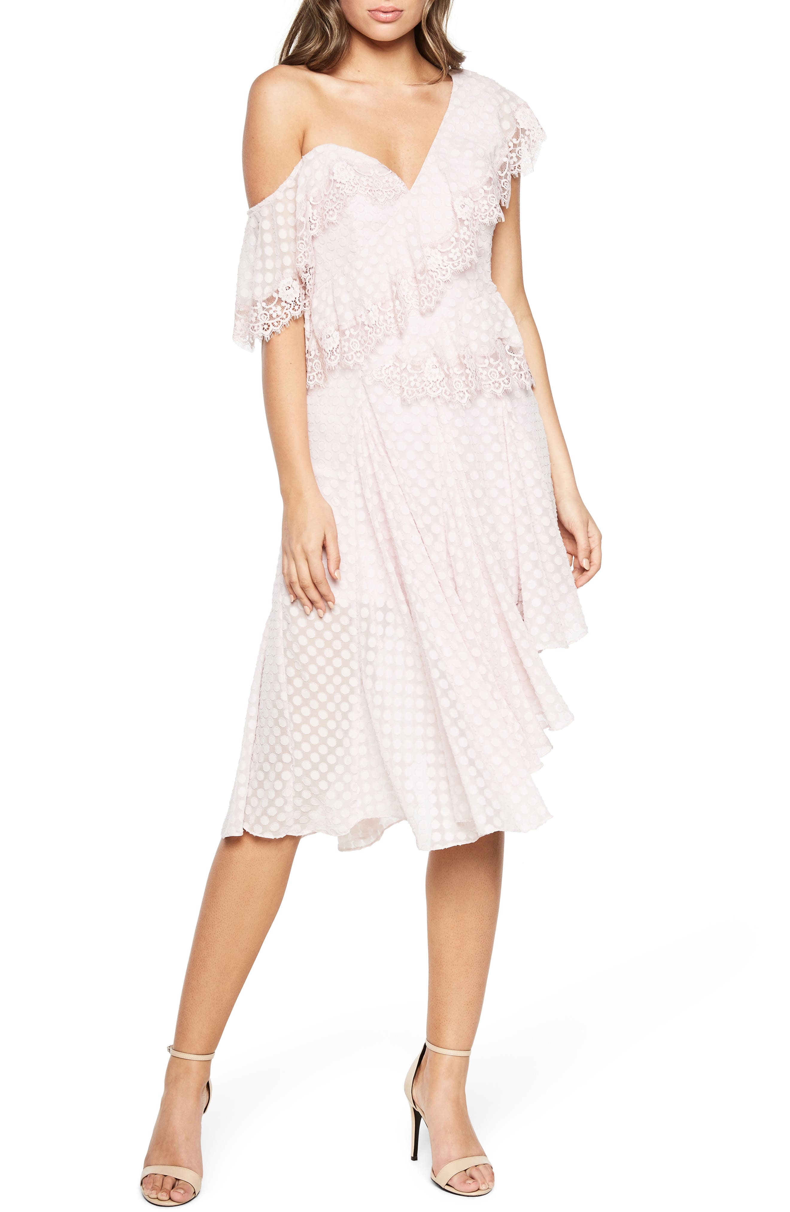 Señorita One-Shoulder Dot Chiffon Dress,                         Main,                         color, Lilac