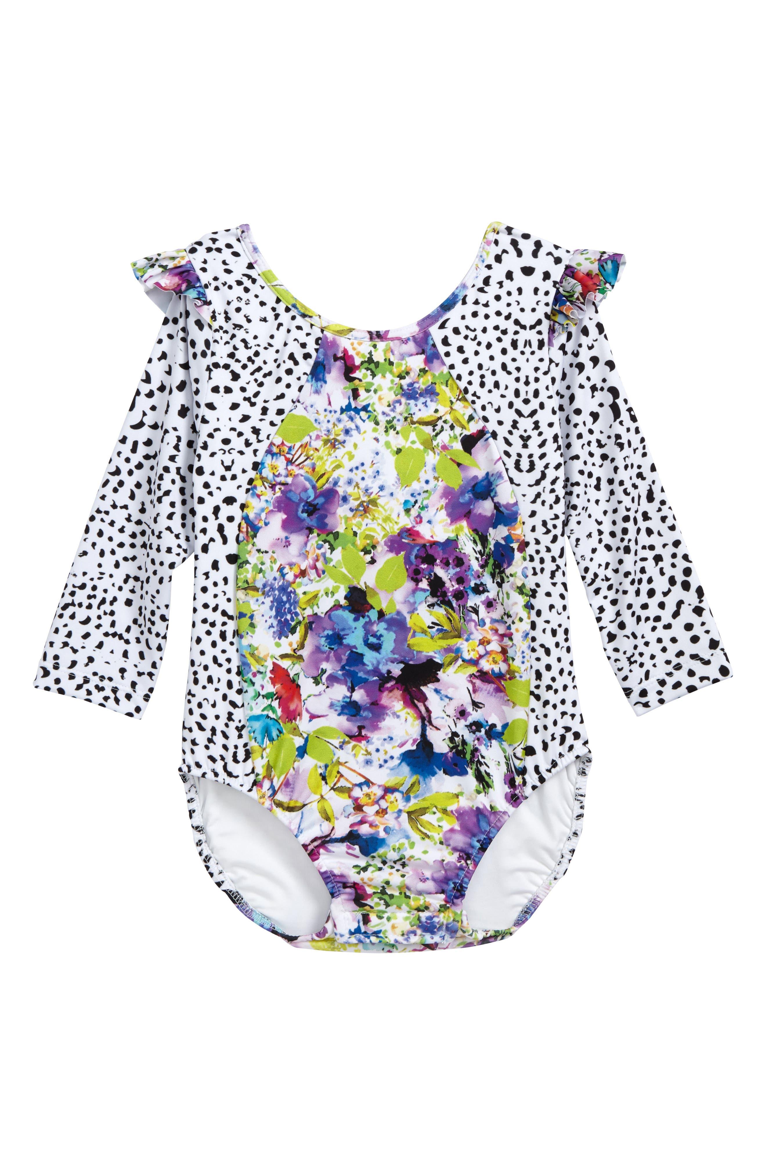 Main Image - The Salty Baby One-Piece Rashguard Swimsuit (Toddler Girls)