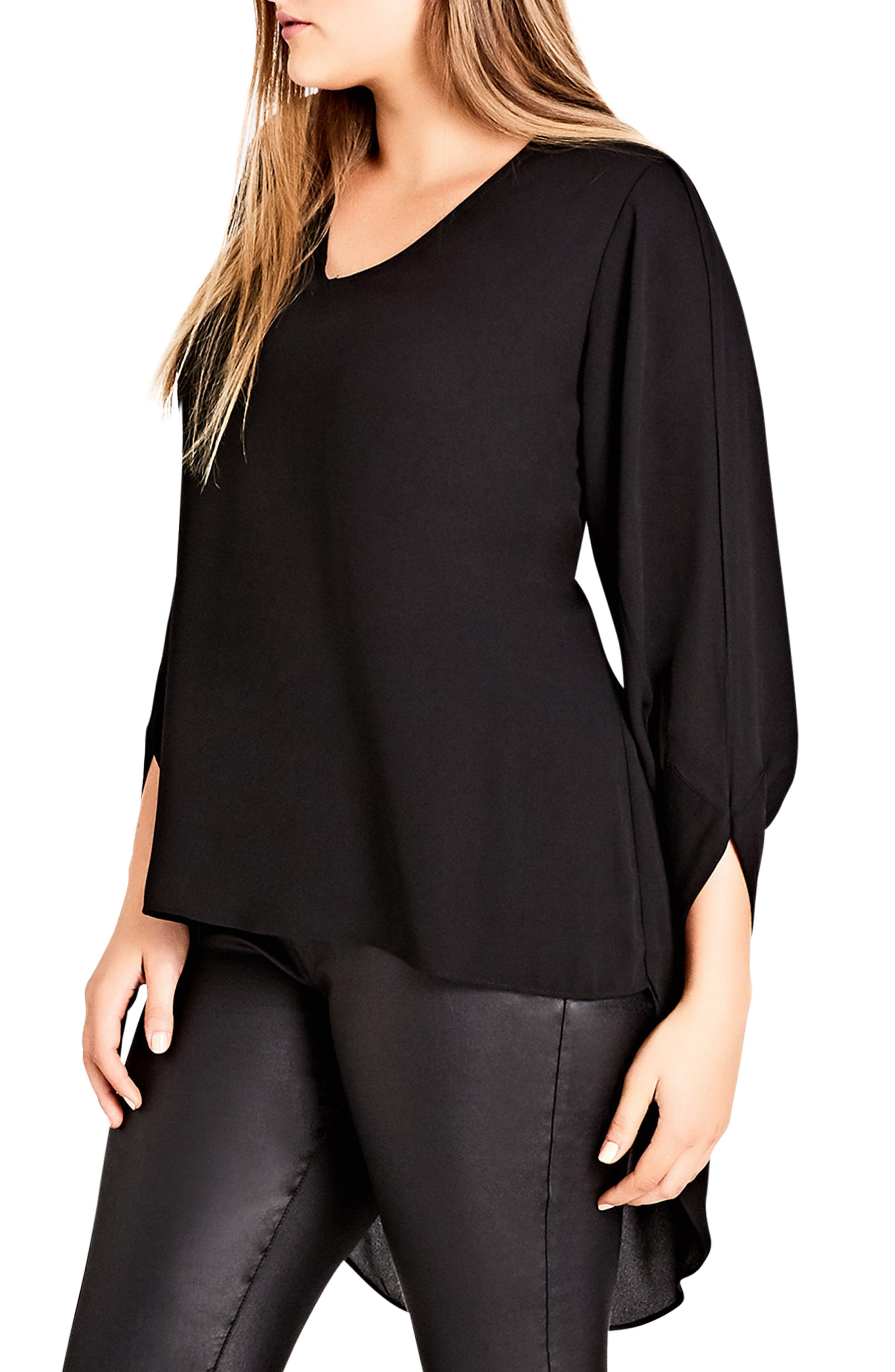Sexy Button Back High/Low Top,                             Alternate thumbnail 3, color,                             Black