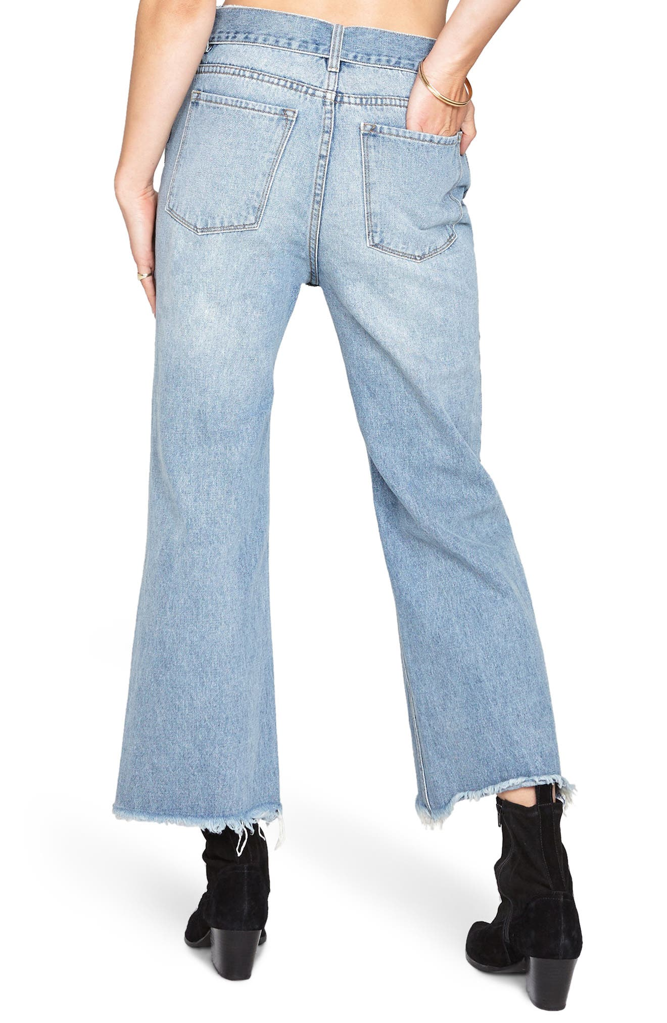 All Tied Up Crop Flare Jeans,                             Alternate thumbnail 2, color,                             Faded Vintage Wash