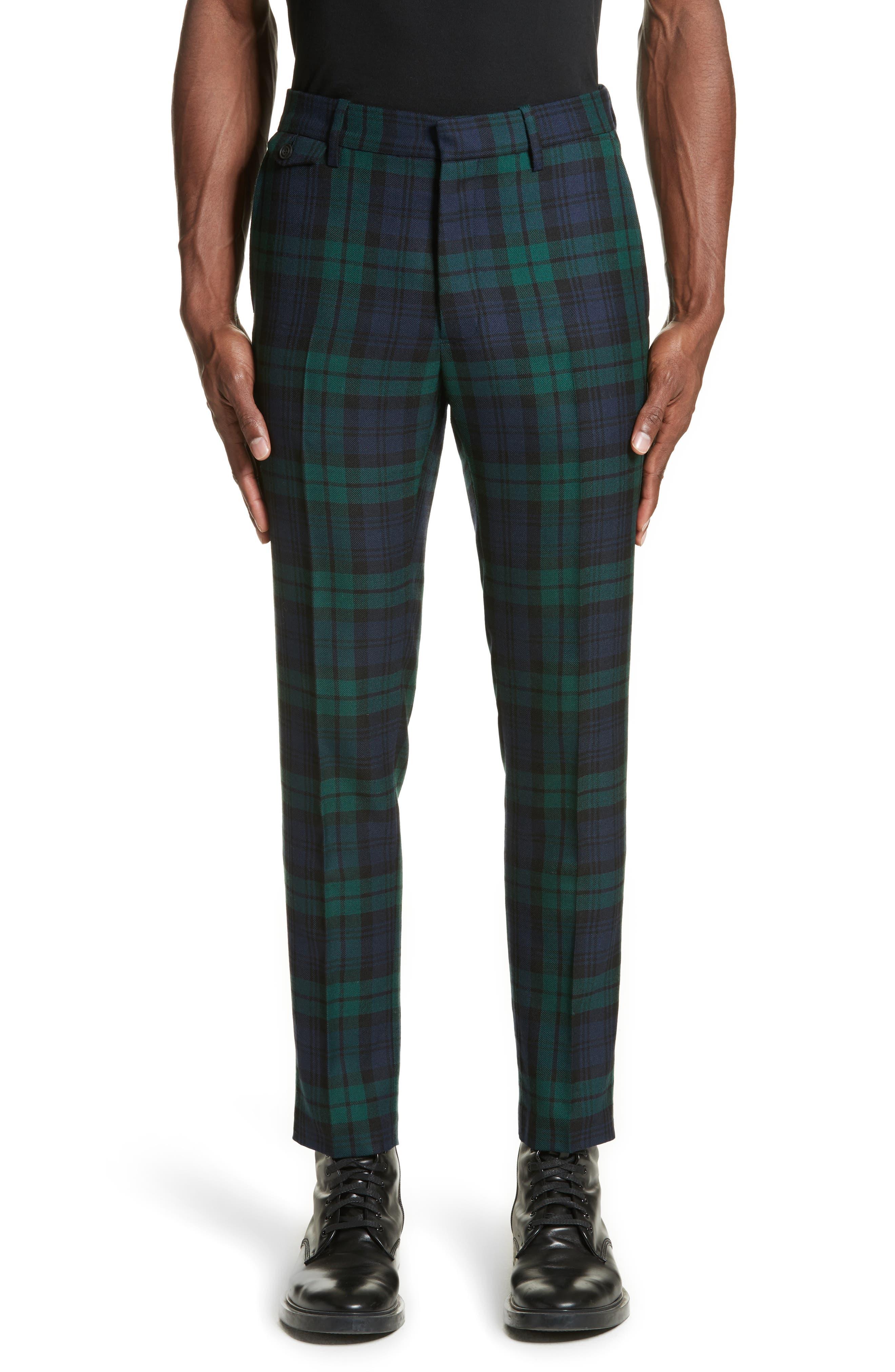 Serpentine Check Wool Pants,                         Main,                         color, Navy
