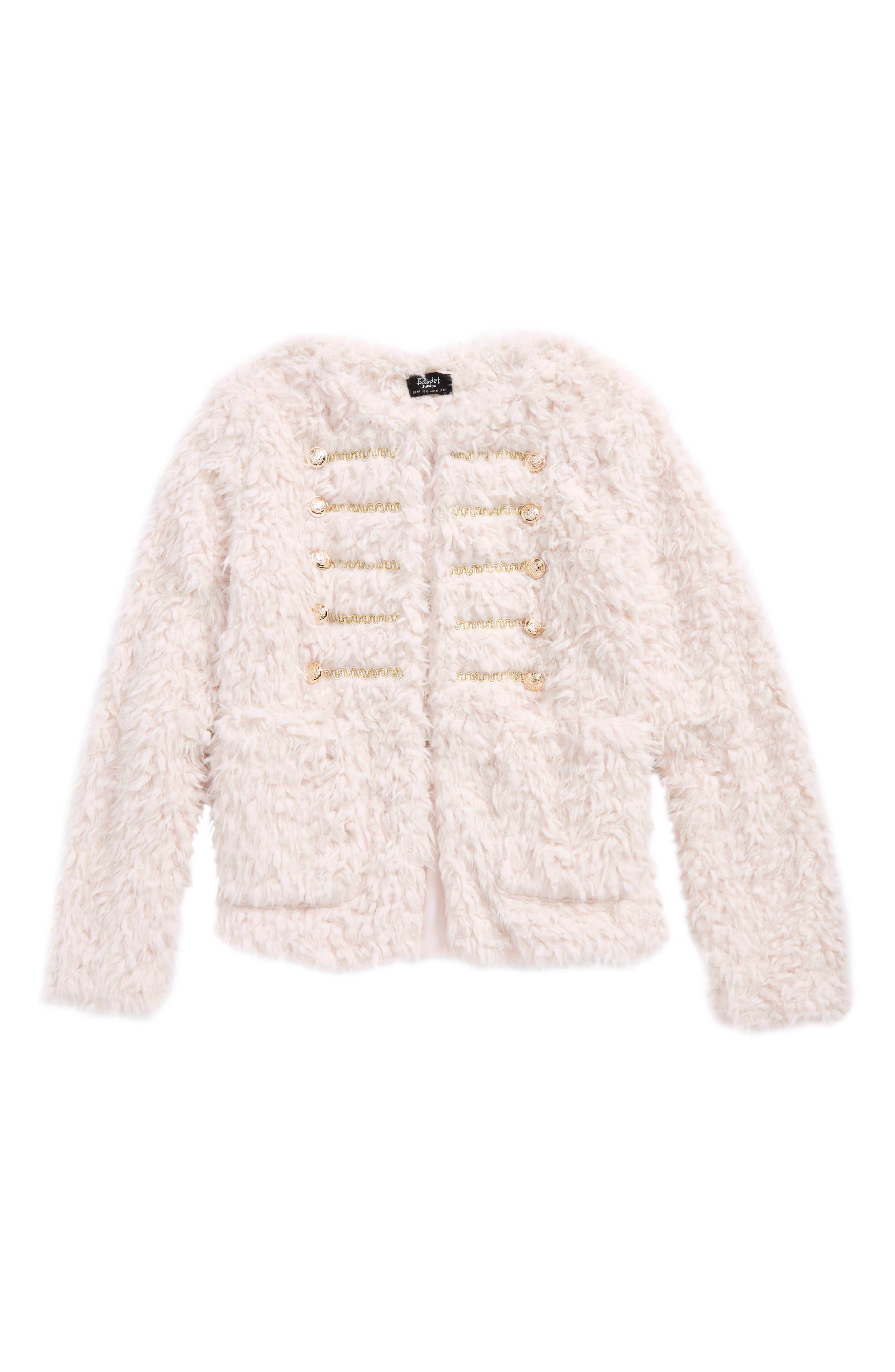 Alternate Image 1 Selected - Bardot Junior Fluffy Military Coat (Big Girls)