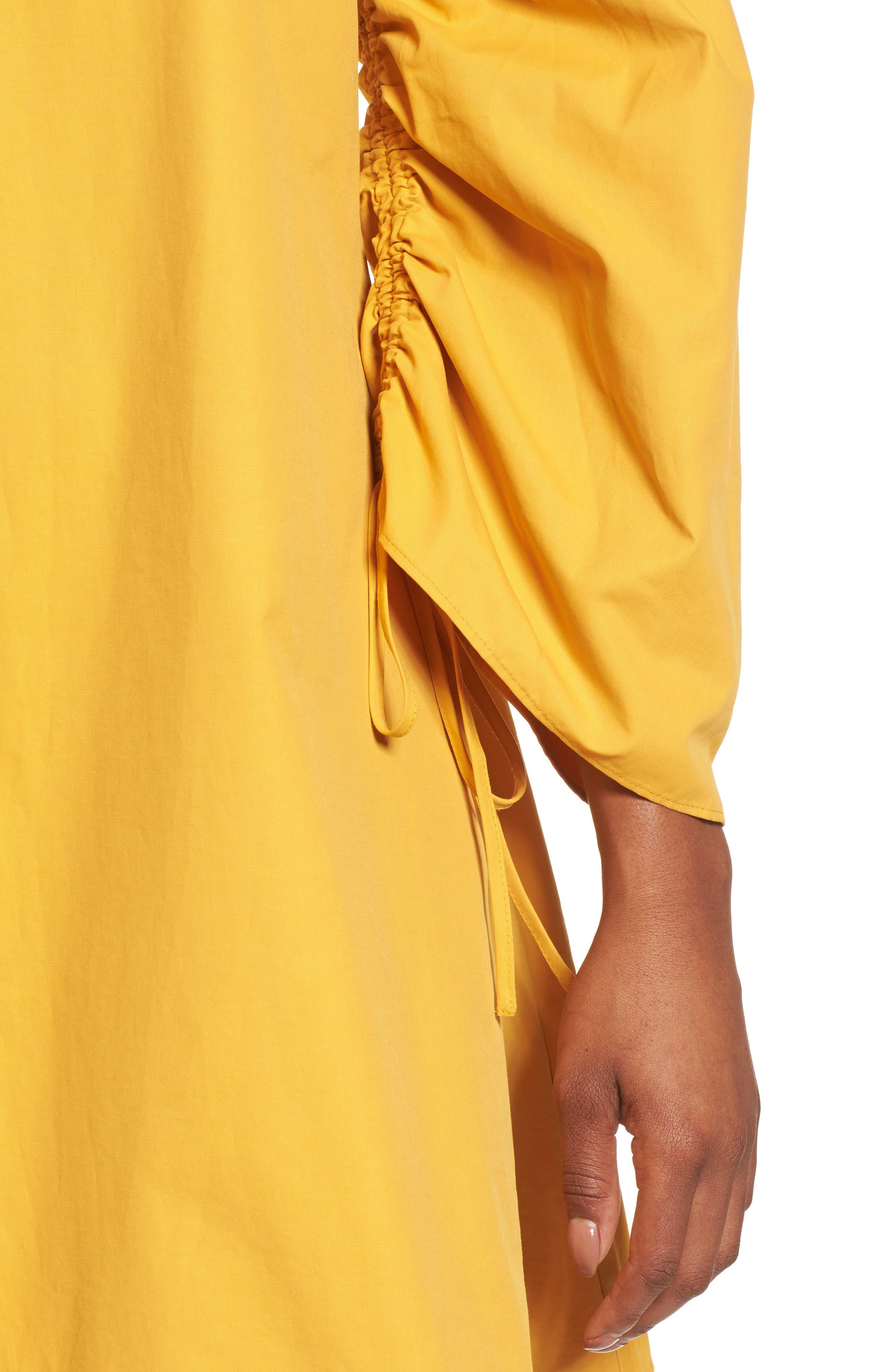 Parachute Sleeve Shift Dress,                             Alternate thumbnail 4, color,                             Yellow Mineral