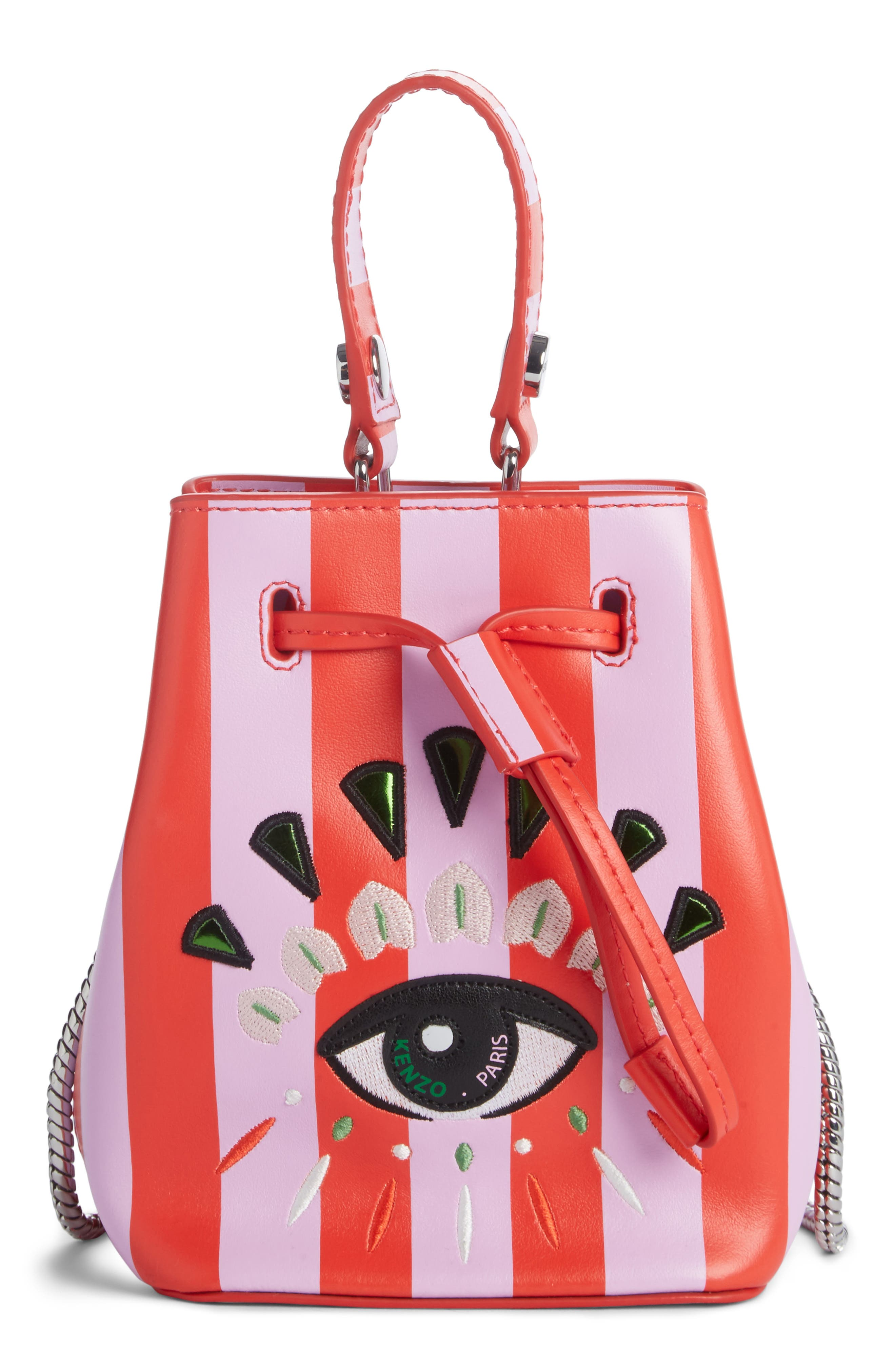 Mini Embroidered Eye Leather Bucket Bag,                             Main thumbnail 1, color,                             Medium Red