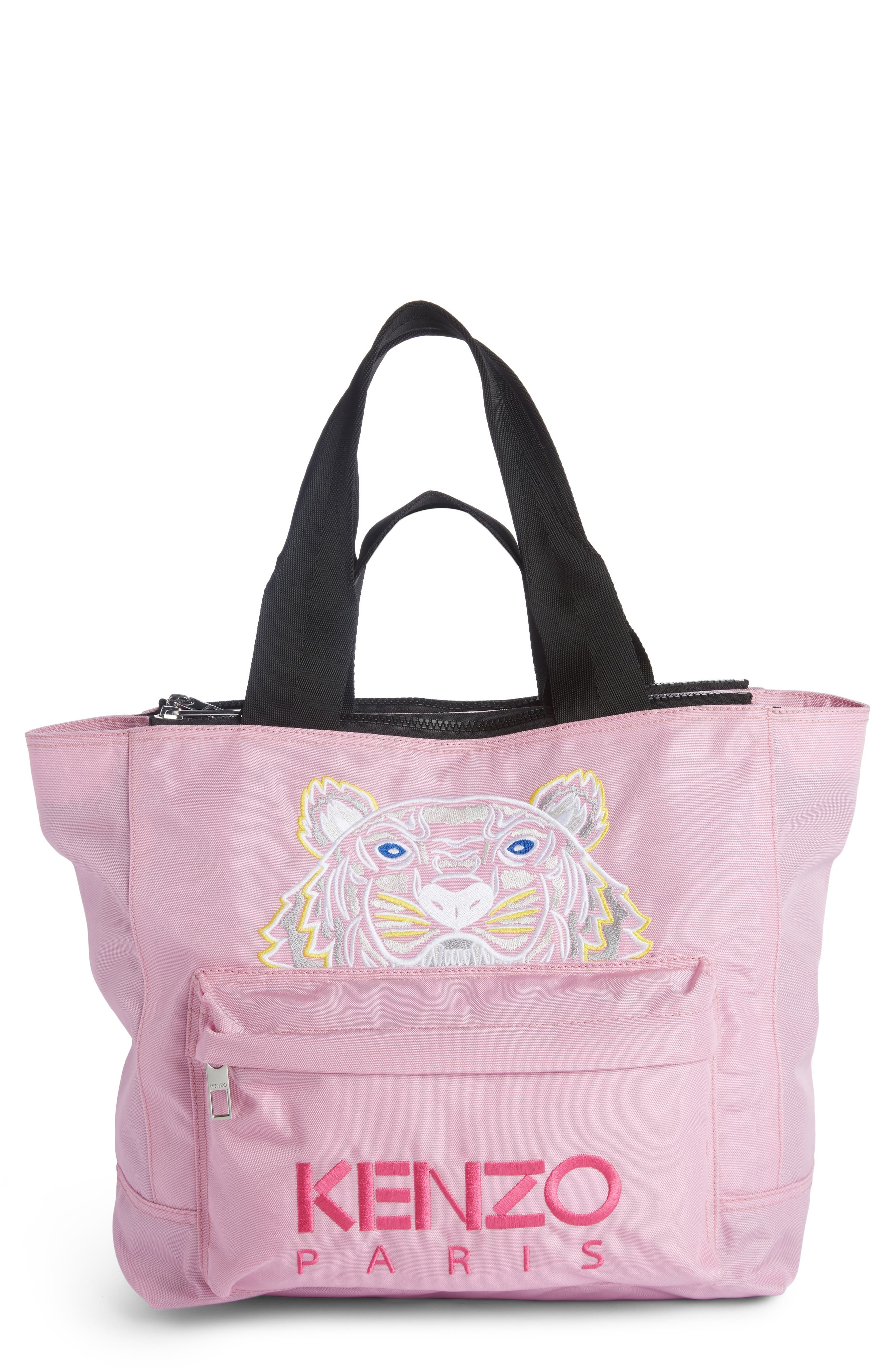 Large Kanvas Embroidered Tiger Tote,                         Main,                         color, Flamingo Pink