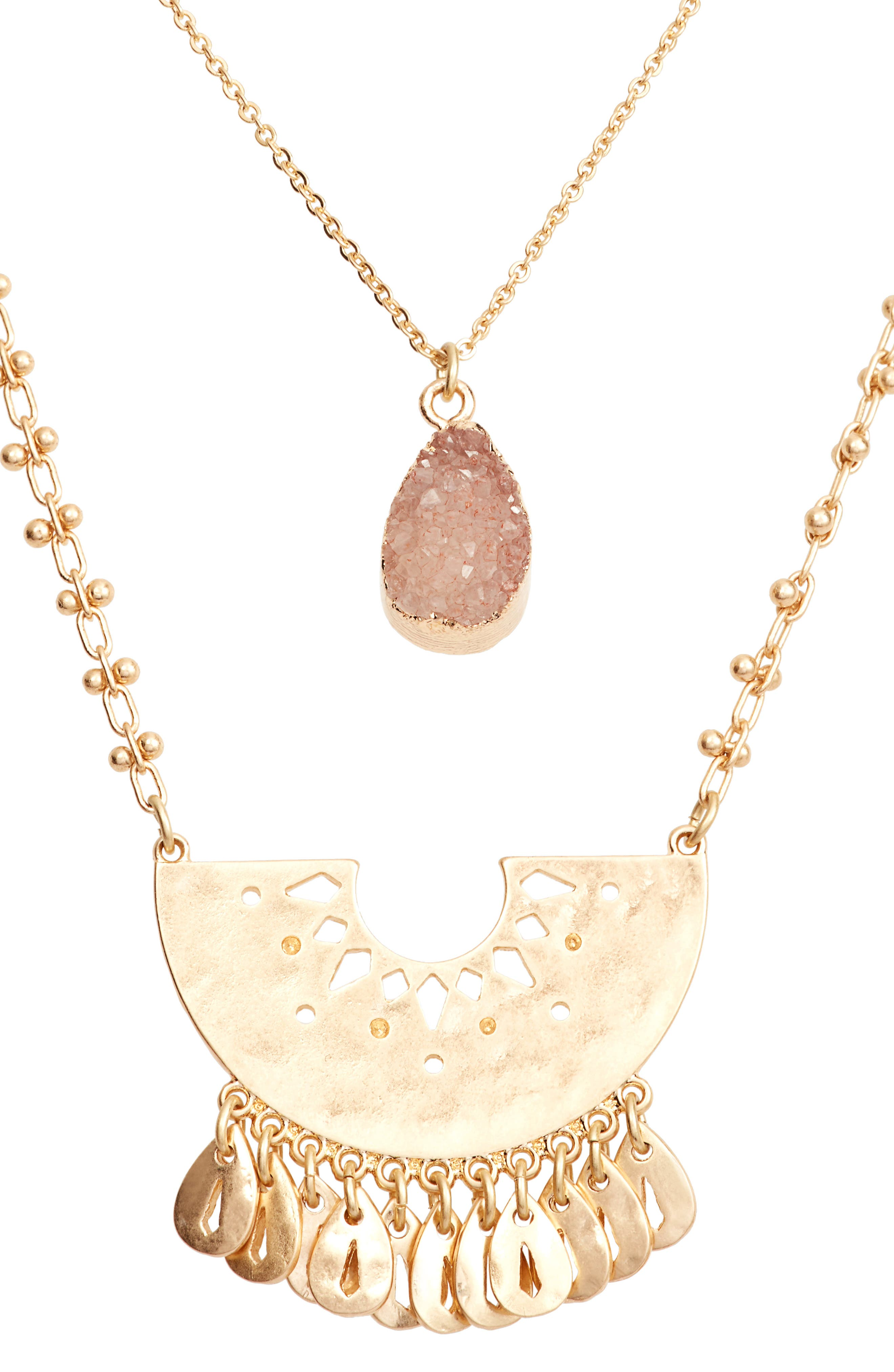 Layered Drusy Pendant Necklace,                             Alternate thumbnail 2, color,                             Peach- Gold