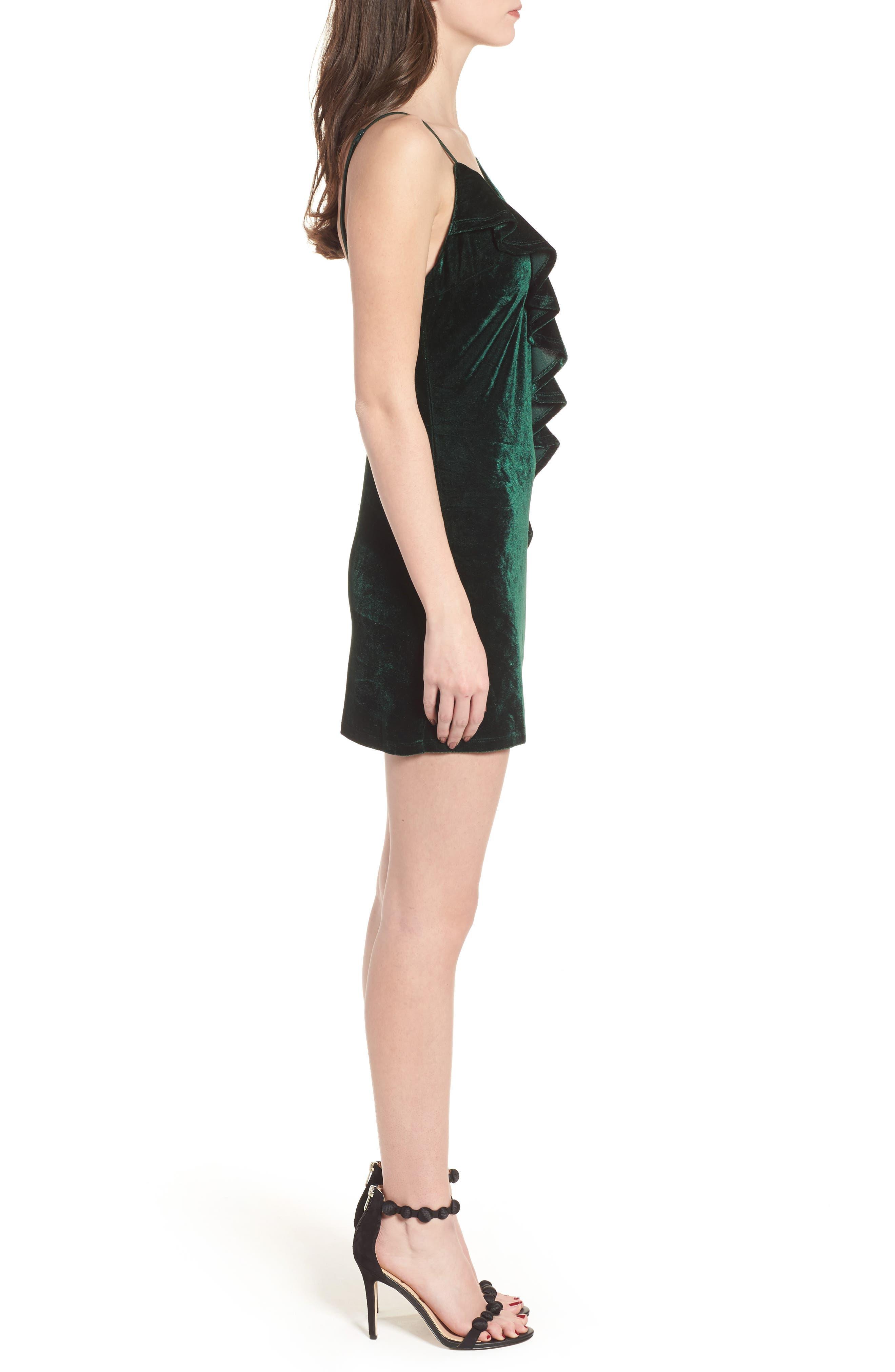 Ella Velvet Minidress,                             Alternate thumbnail 3, color,                             Green