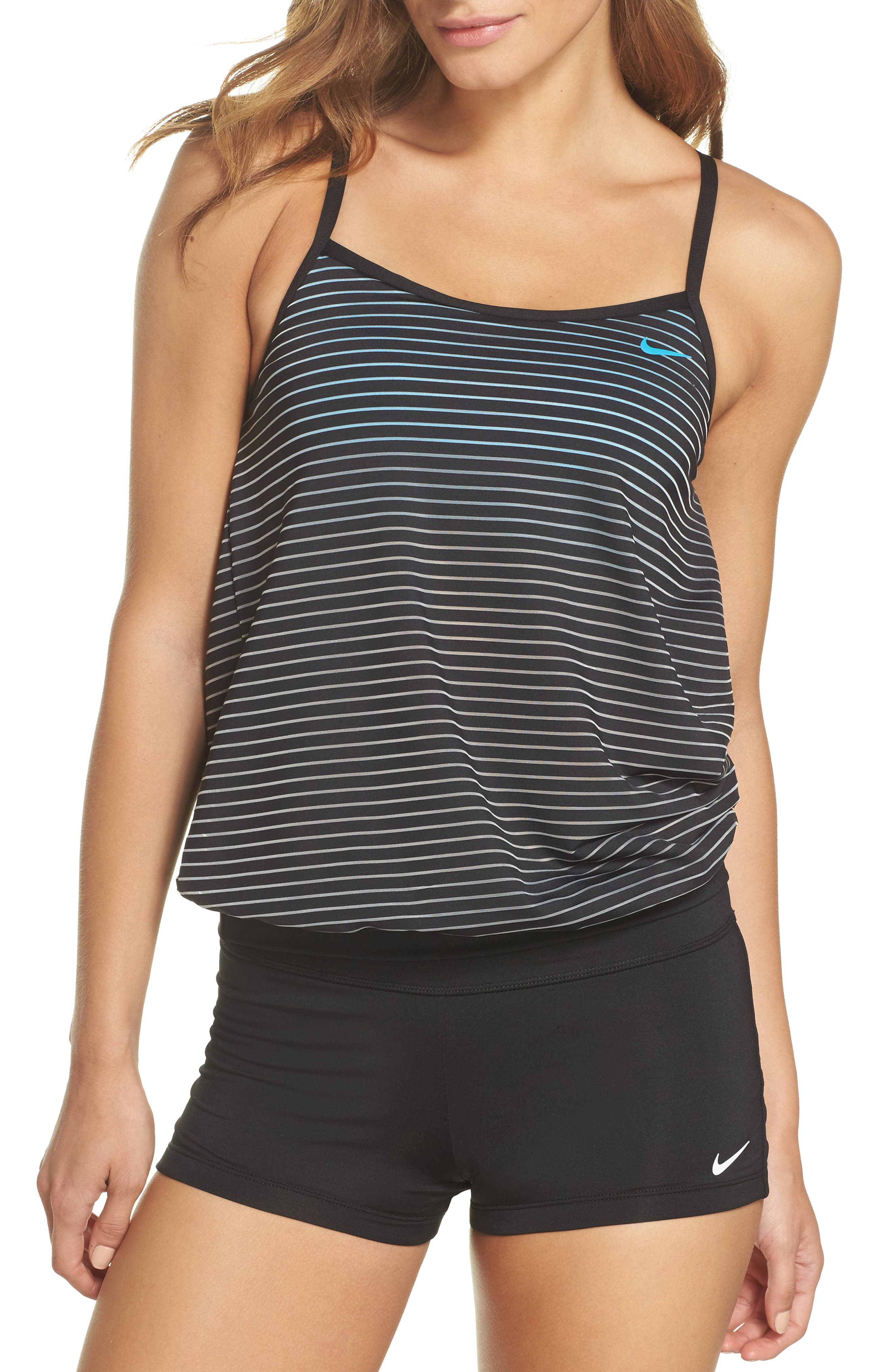 Layered Sport Tankini Top,                         Main,                         color, Black