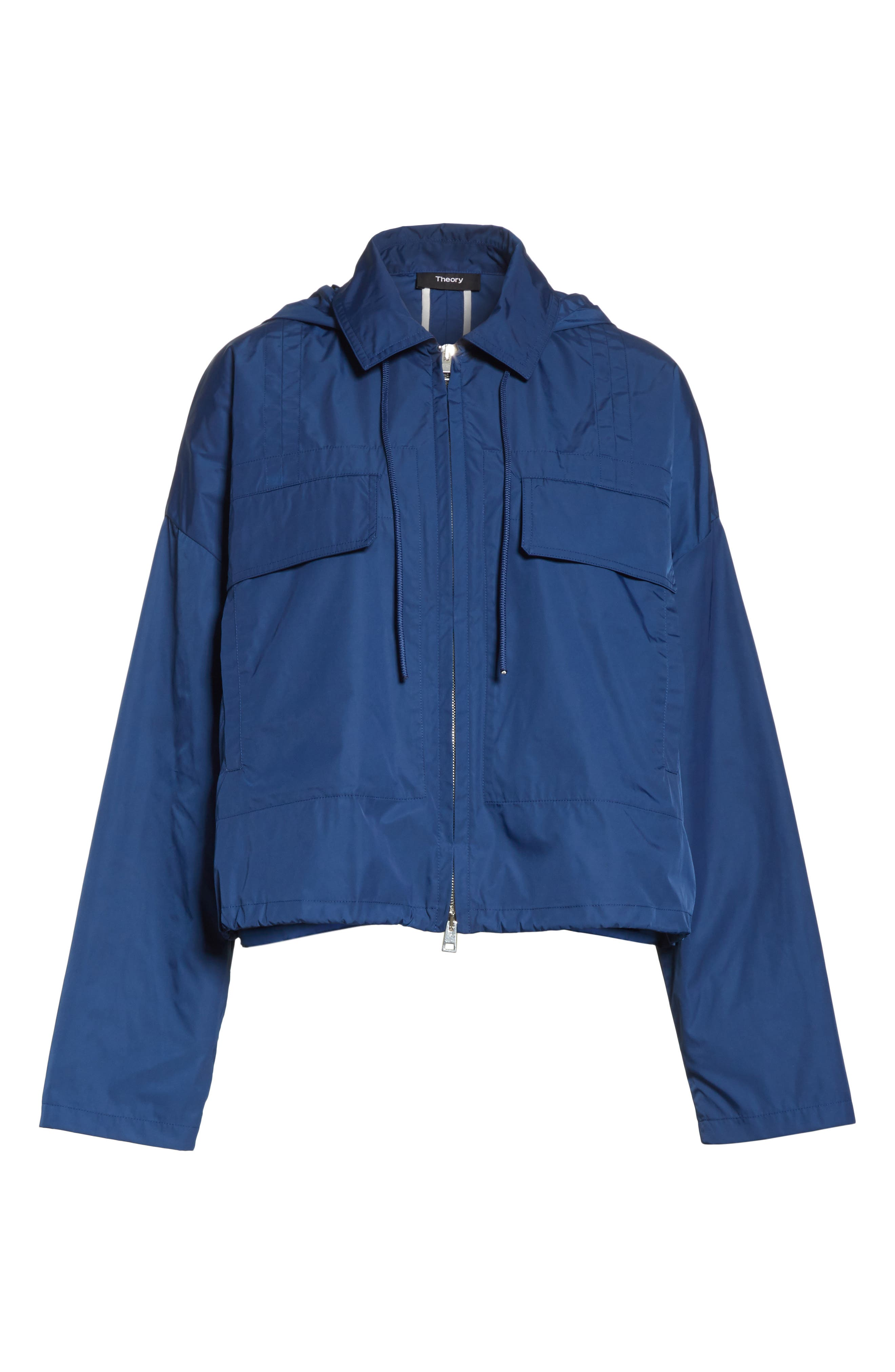 Active Twill Crop Hooded Jacket,                             Alternate thumbnail 6, color,                             Liberty Blue