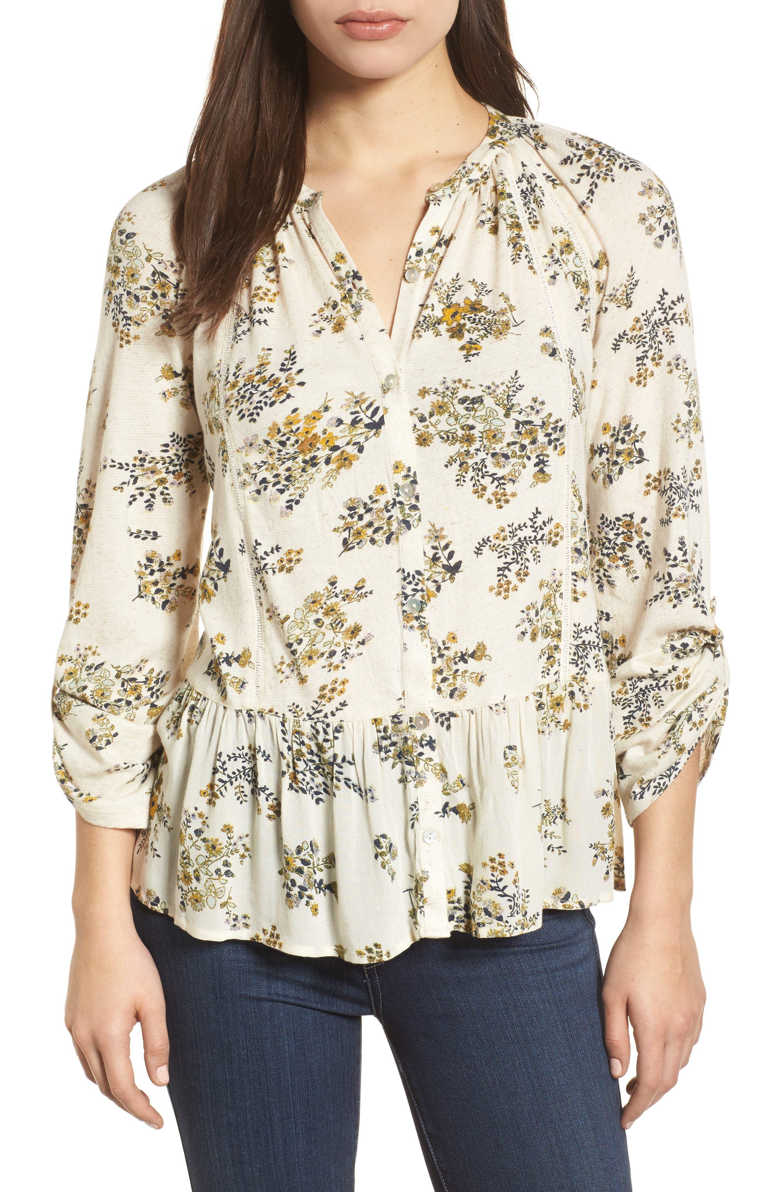 Main Image - Lucky Brand Floral Print Peplum Top