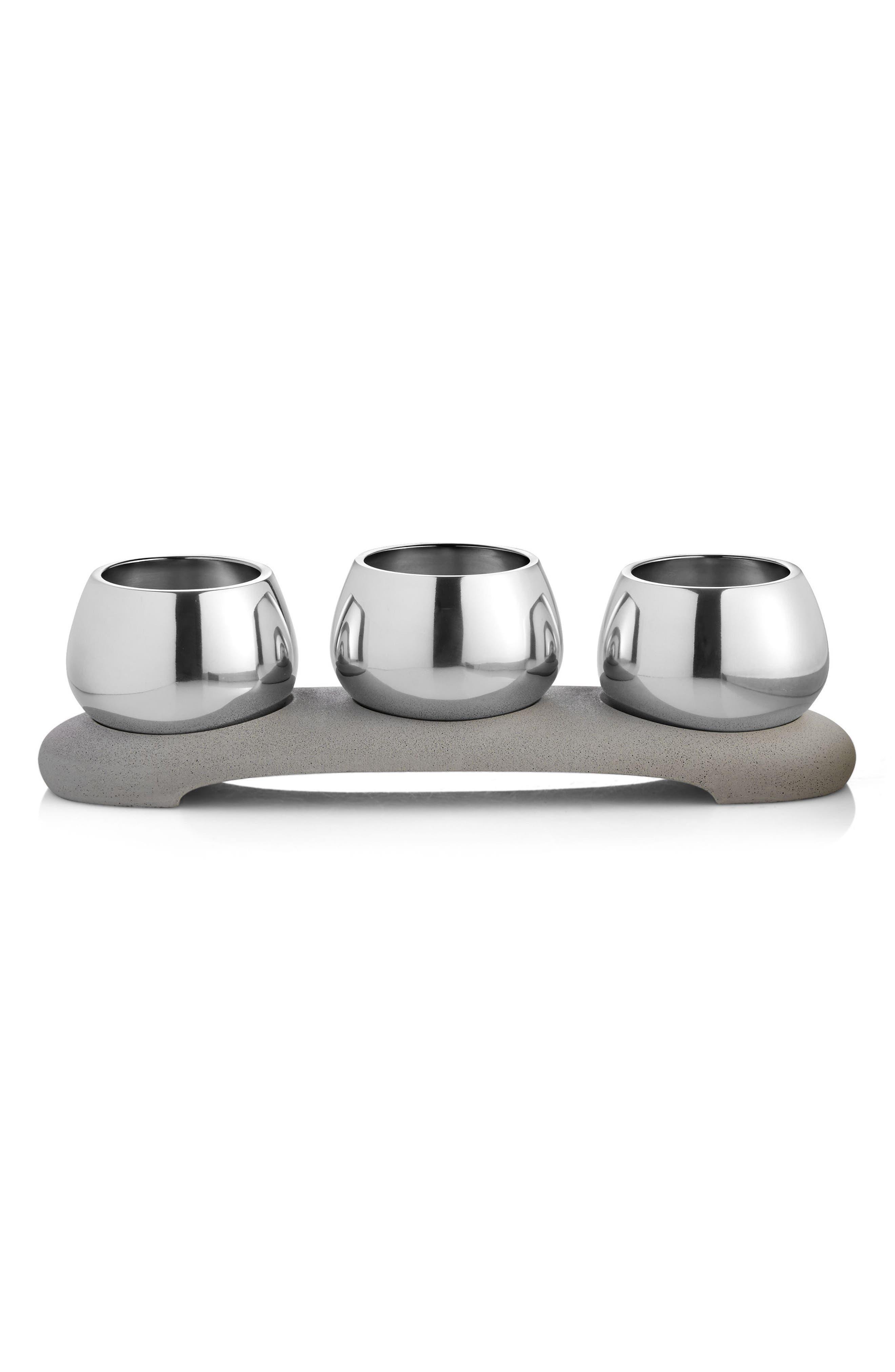 Forte 4-Piece Condiment Serving Set,                         Main,                         color, Silver/ Grey