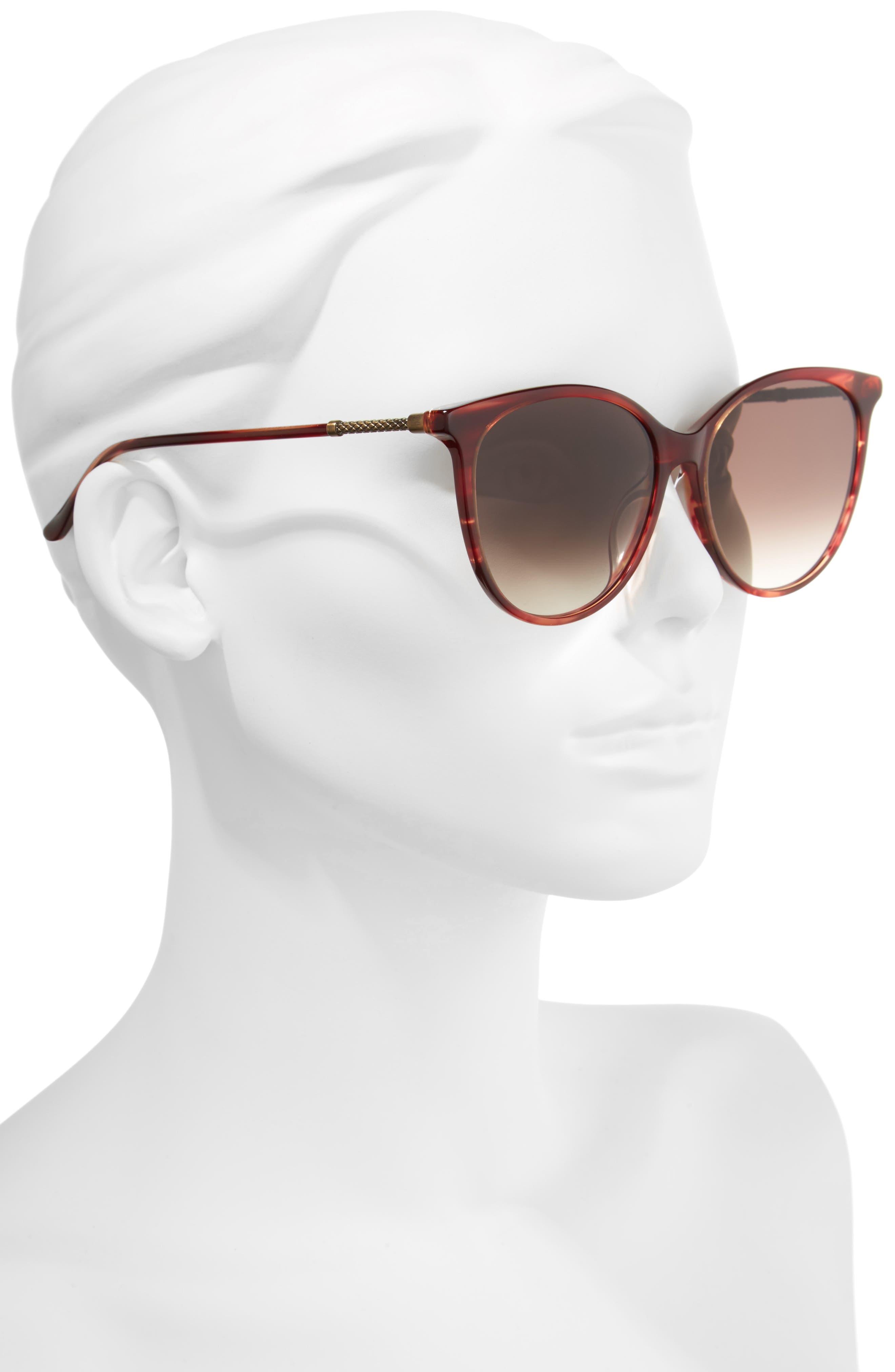 57mm Cat Eye Sunglasses,                             Alternate thumbnail 2, color,                             Red