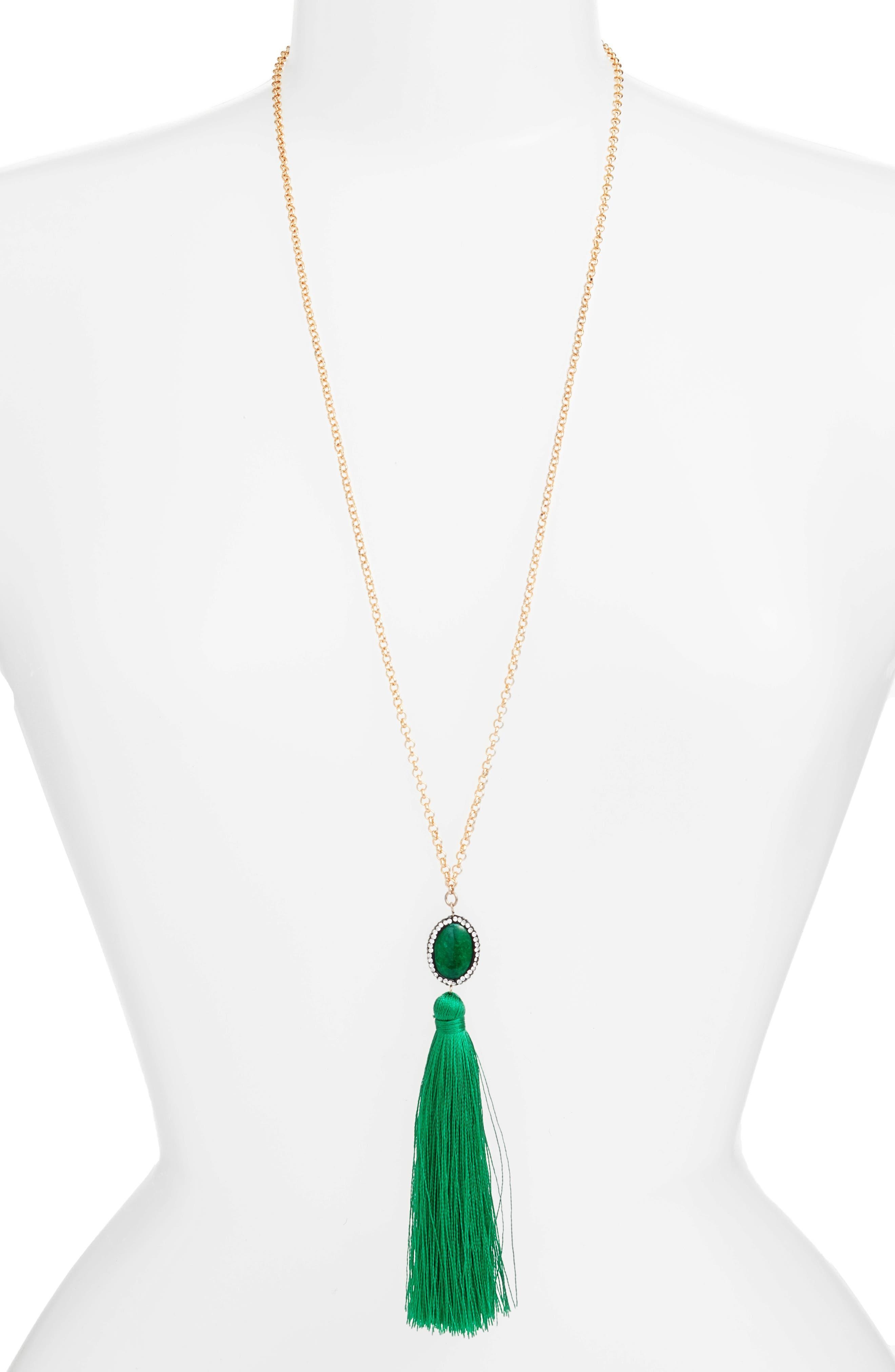 Main Image - Tasha Beaded Tassel Necklace