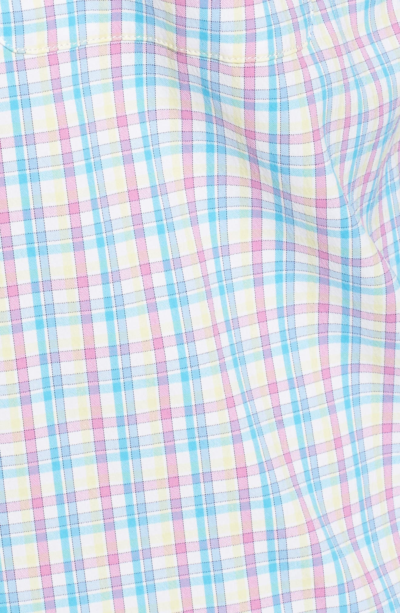 Dorian Plaid Easy Care Sport Shirt,                             Alternate thumbnail 5, color,                             White