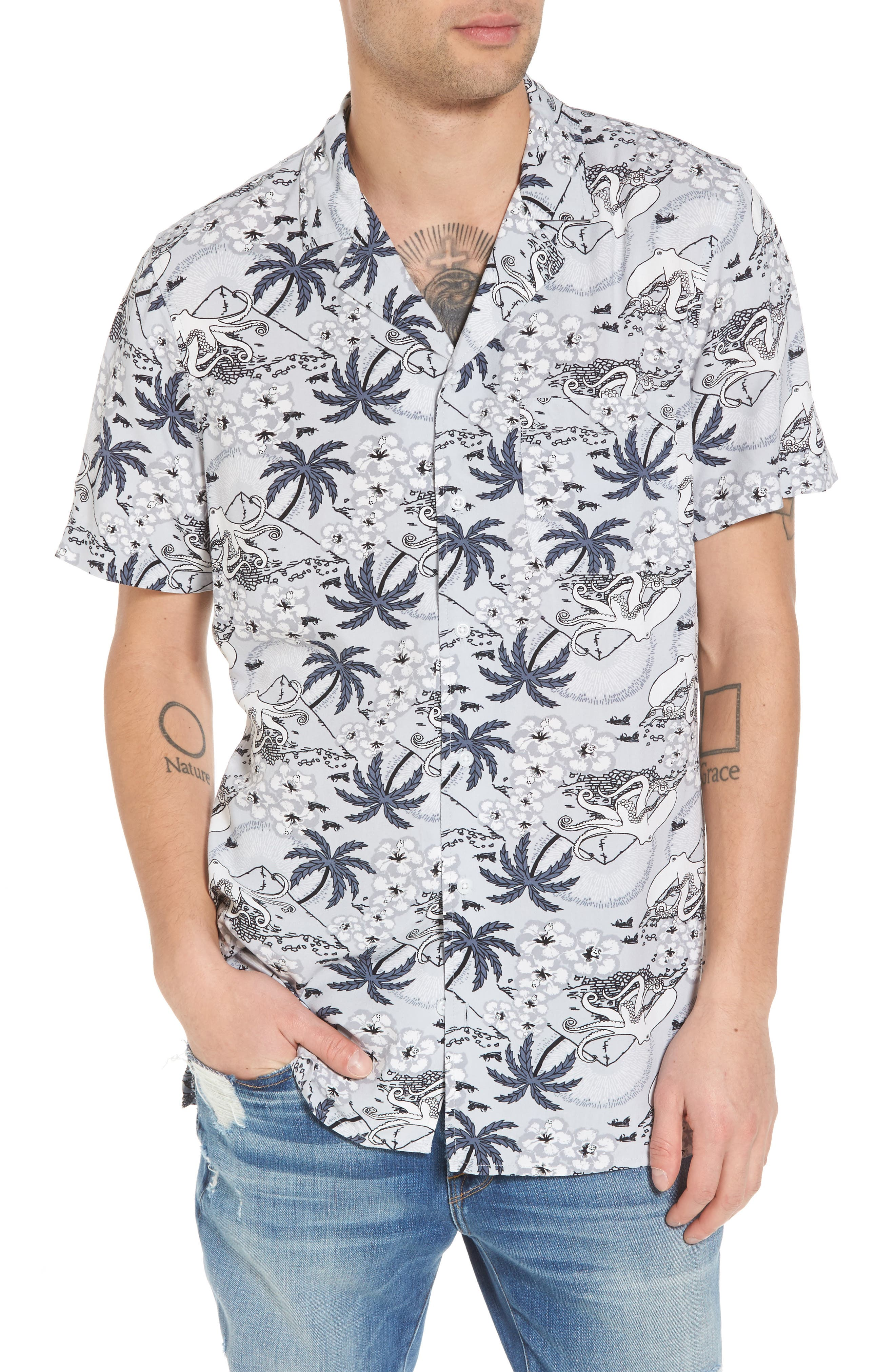 Camp Collar Shirt,                         Main,                         color, Grey Octopus Resort Print