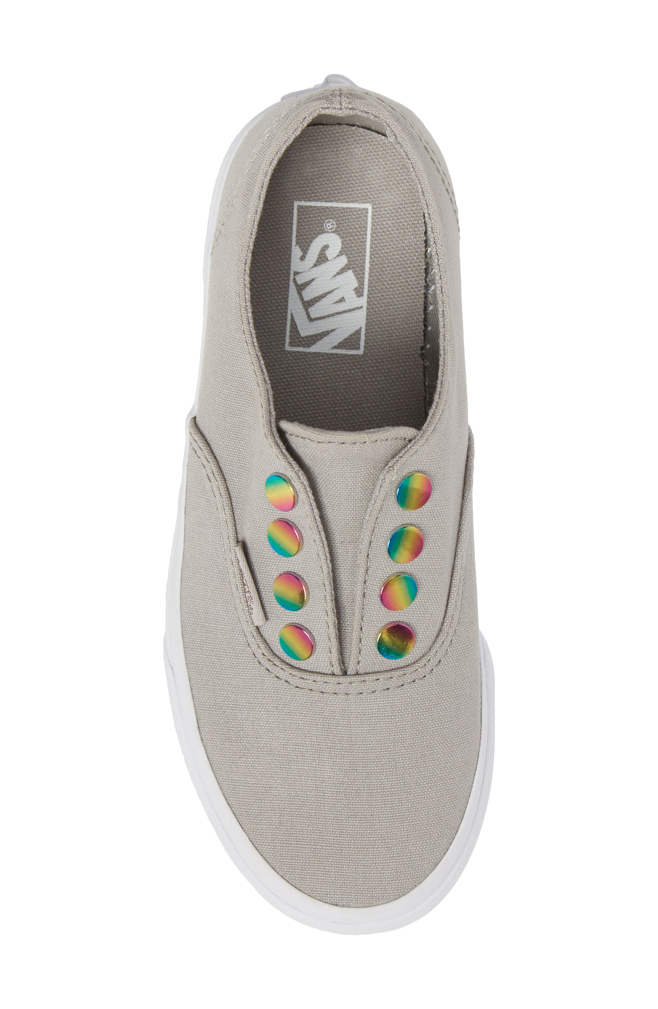 Authentic Gore Slip-On Sneaker,                             Alternate thumbnail 5, color,                             Drizzle/ Rainbow Eyelet