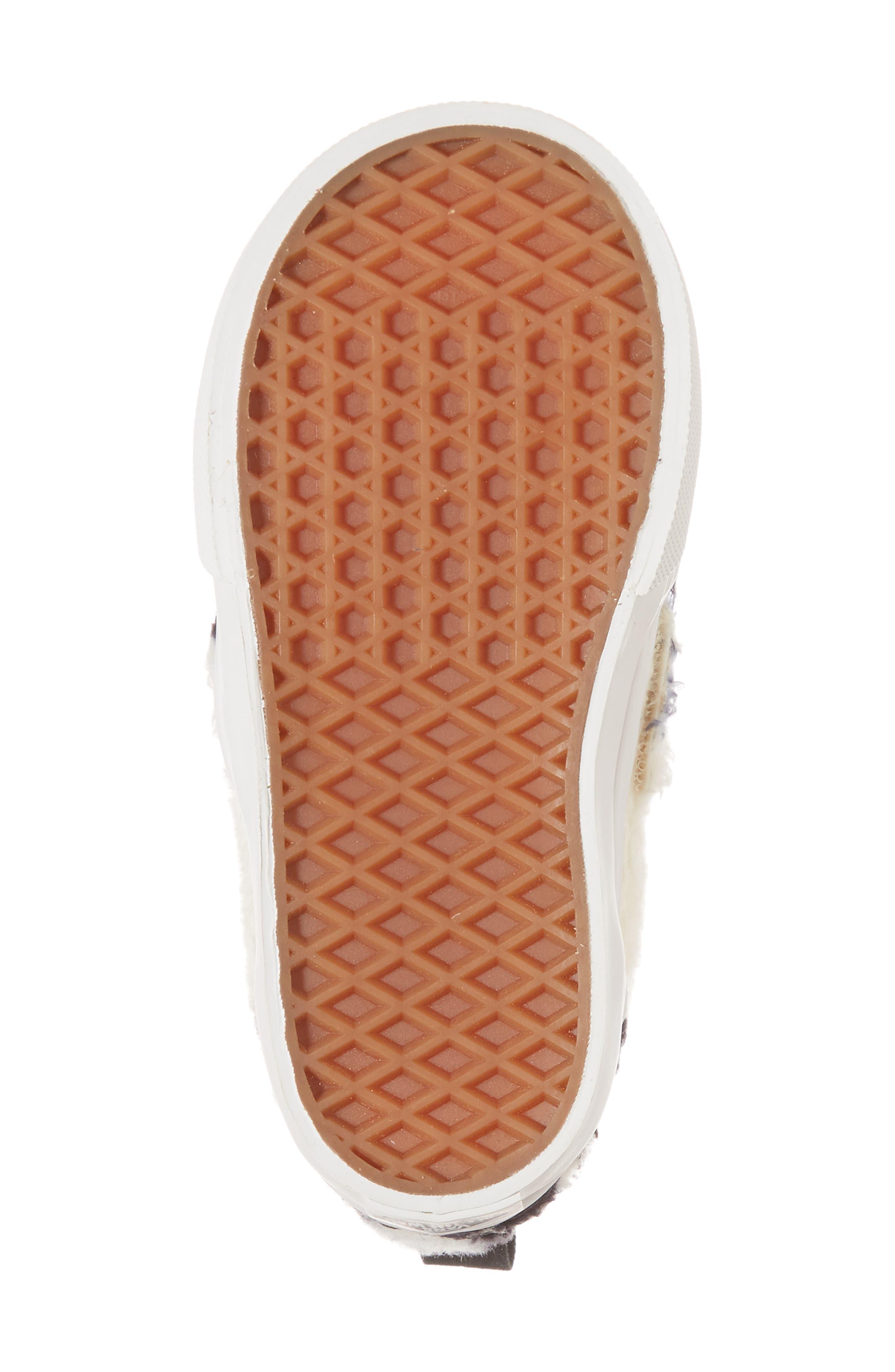 Faux Fur Slip-On Sneaker,                             Alternate thumbnail 6, color,                             Black/ White Sherpa Check