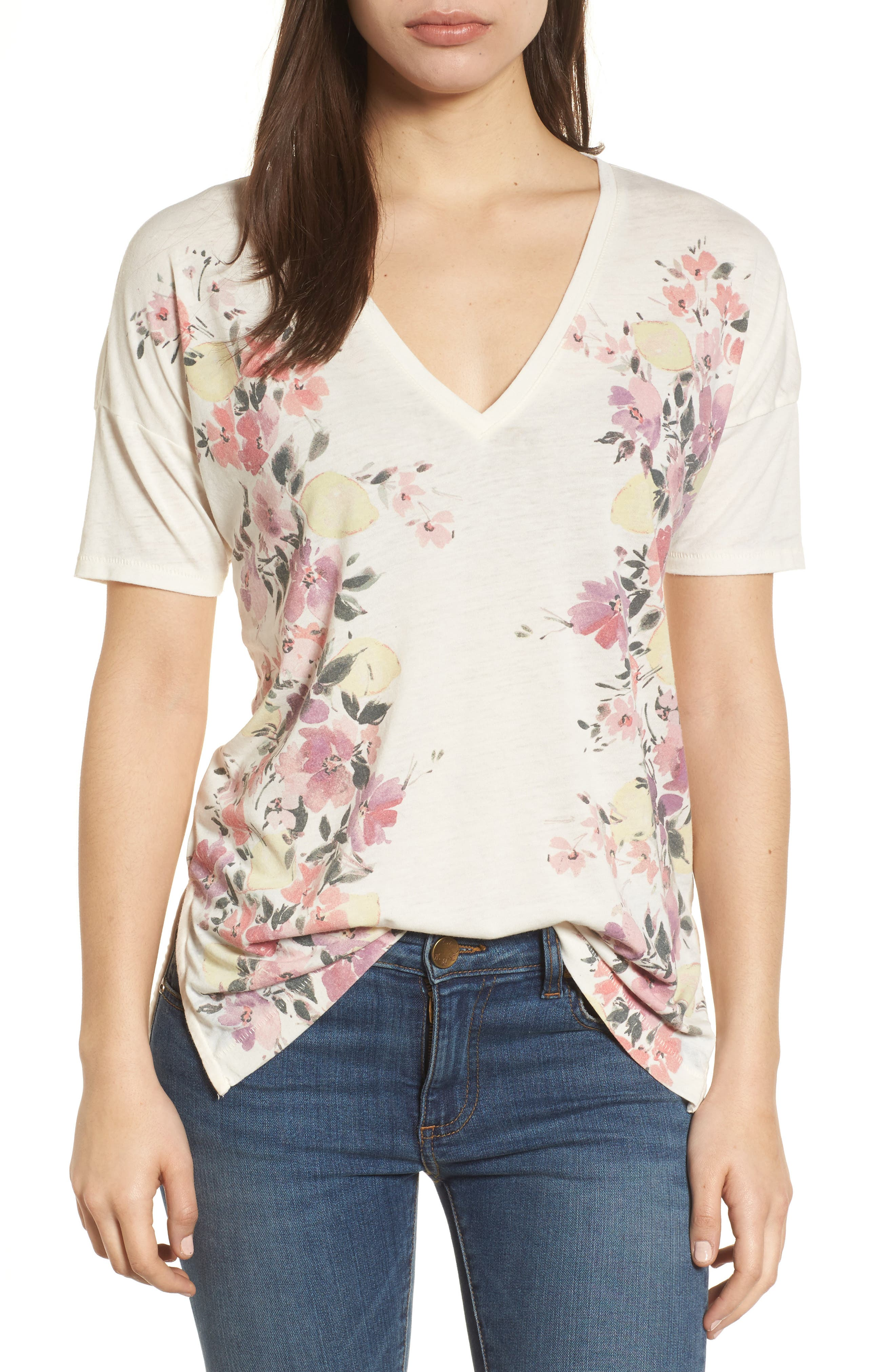 White Floral Tee,                         Main,                         color, Egg Shell
