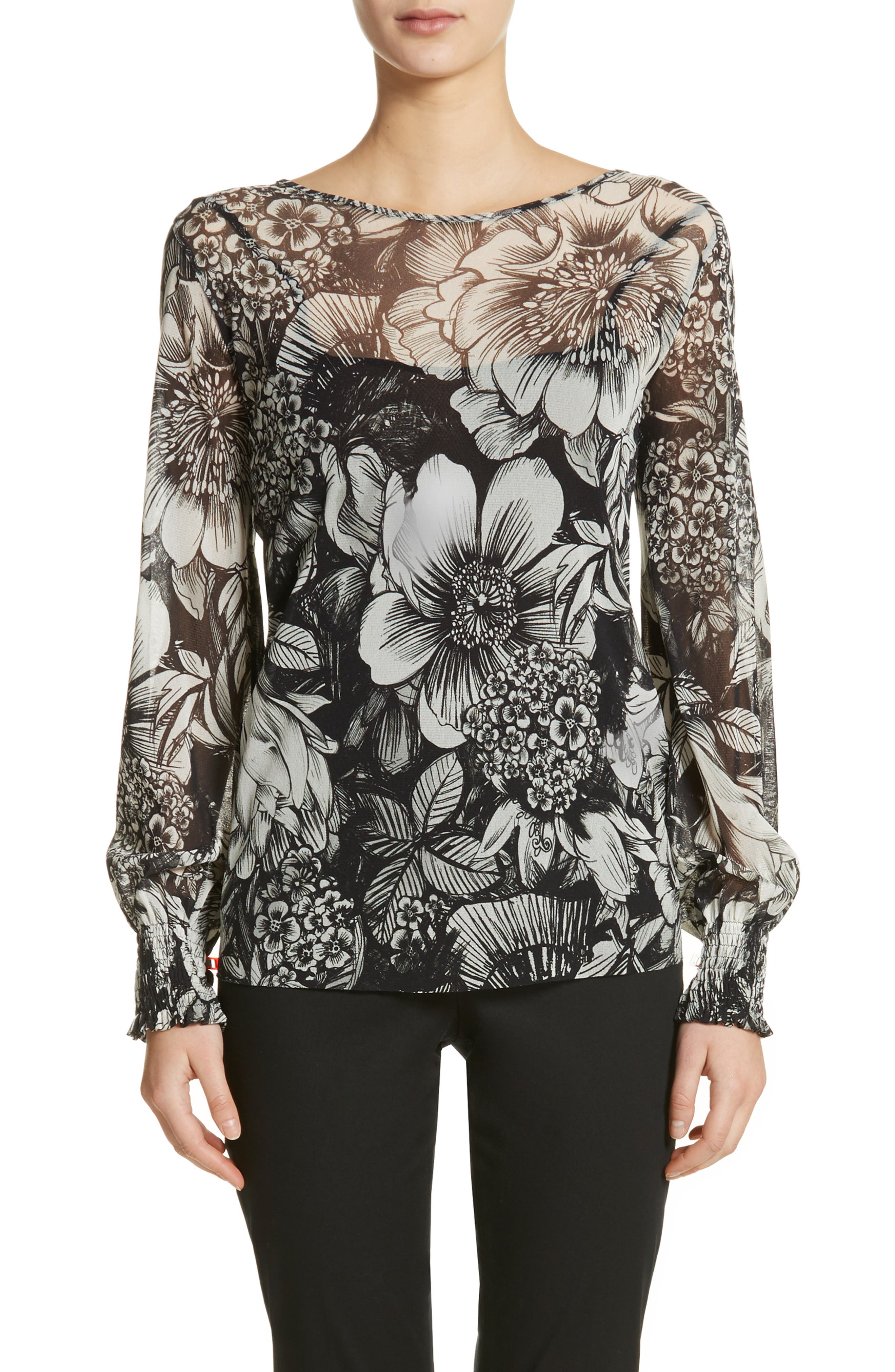 Main Image - Fuzzi Floral Print Tulle Blouson Top