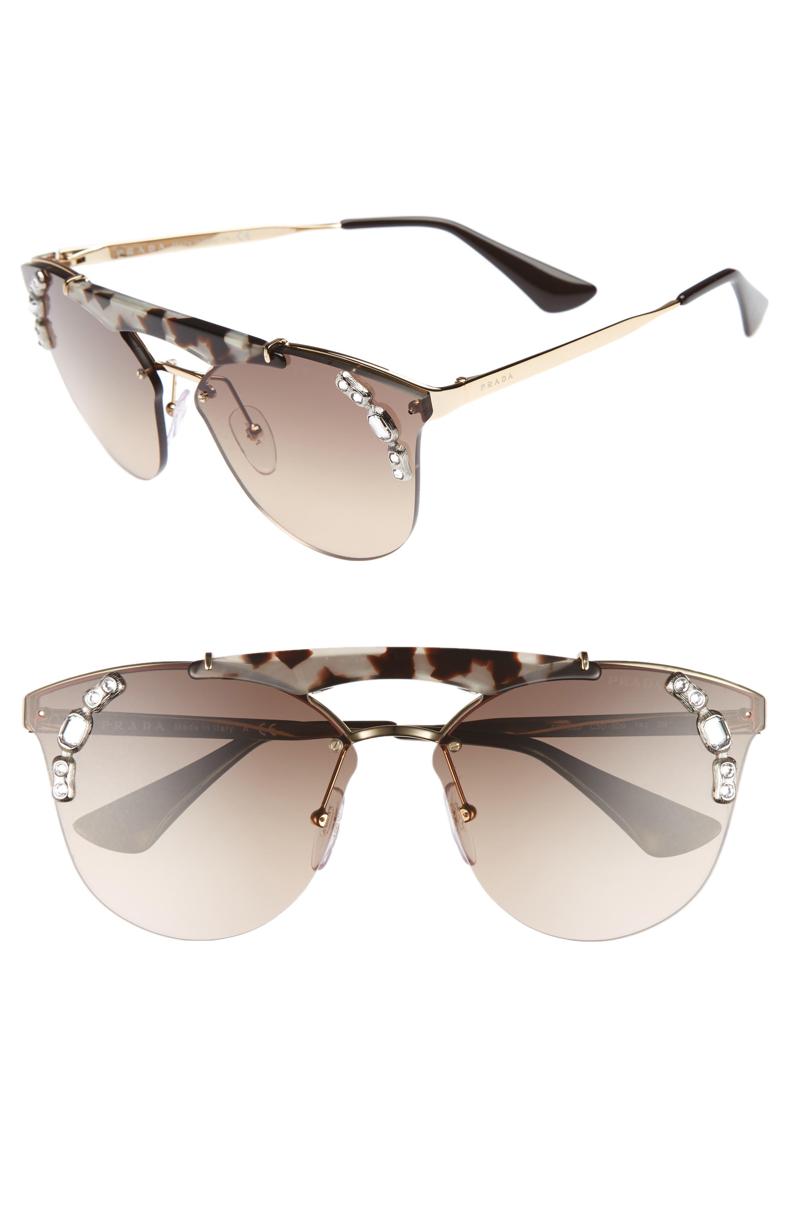 Main Image - Prada 53mm Embellished Rimless Sunglasses