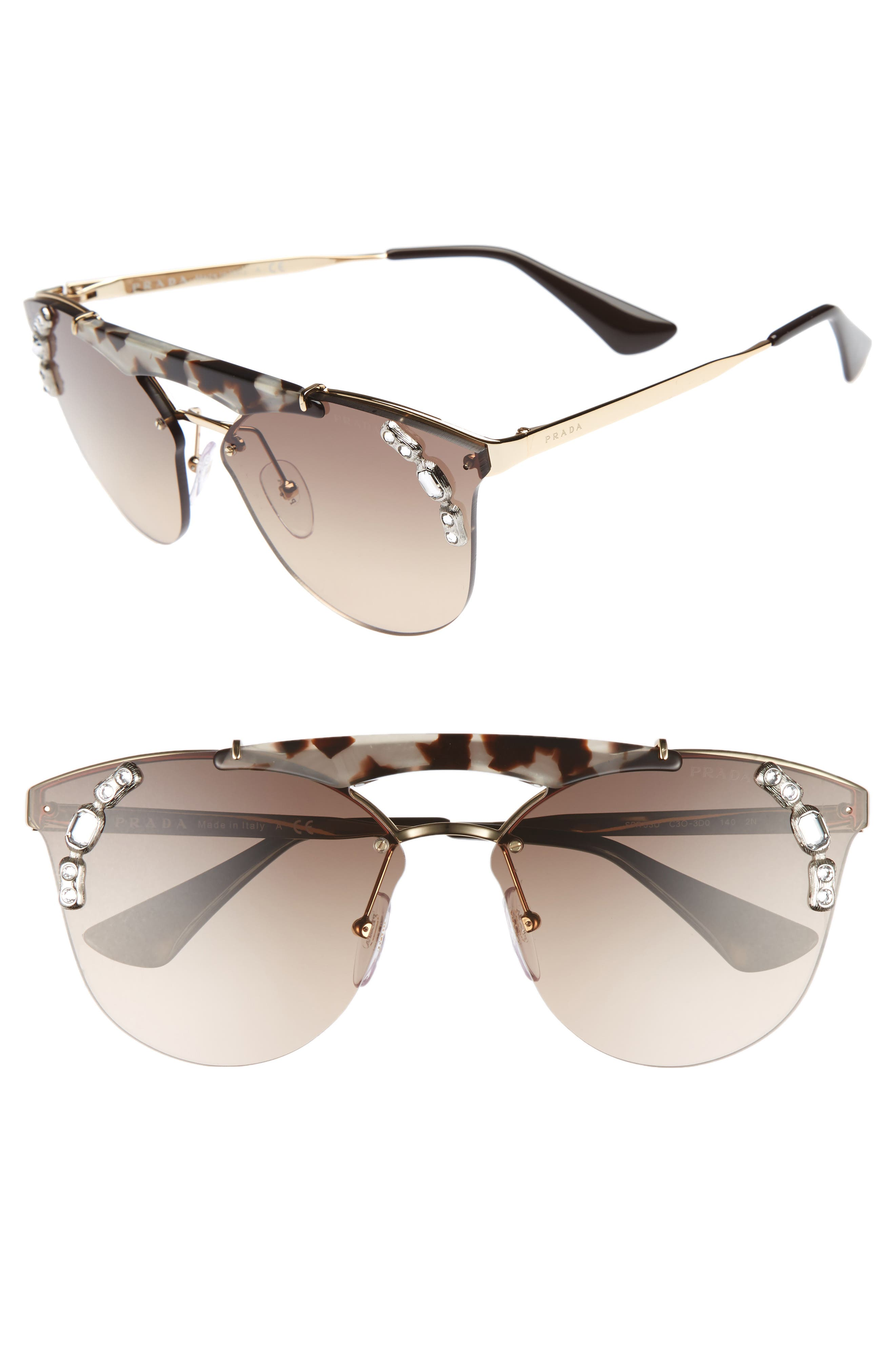 53mm Embellished Rimless Sunglasses,                         Main,                         color, Gold/ Brown