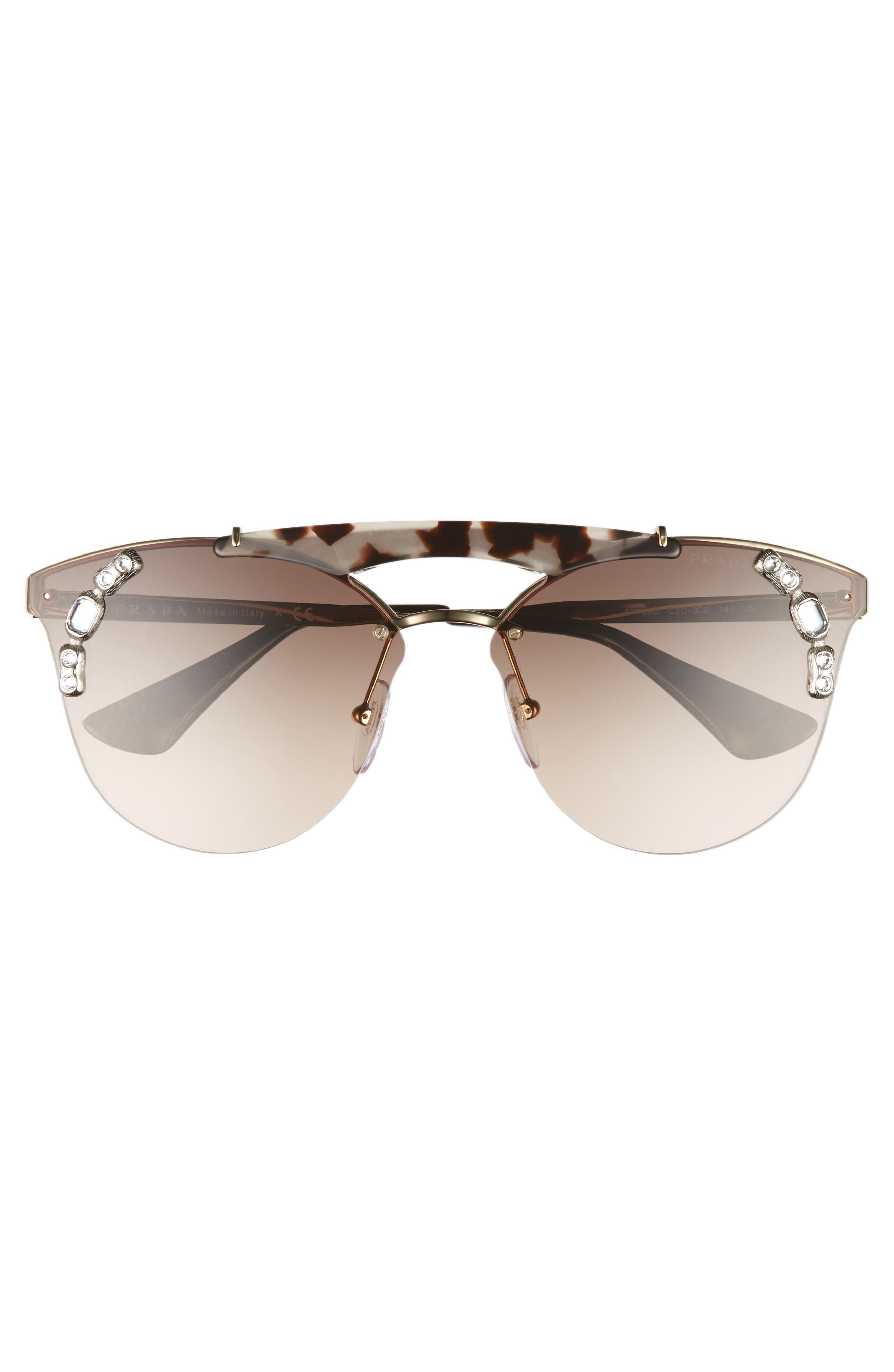 53mm Embellished Rimless Sunglasses,                             Alternate thumbnail 3, color,                             Gold/ Brown