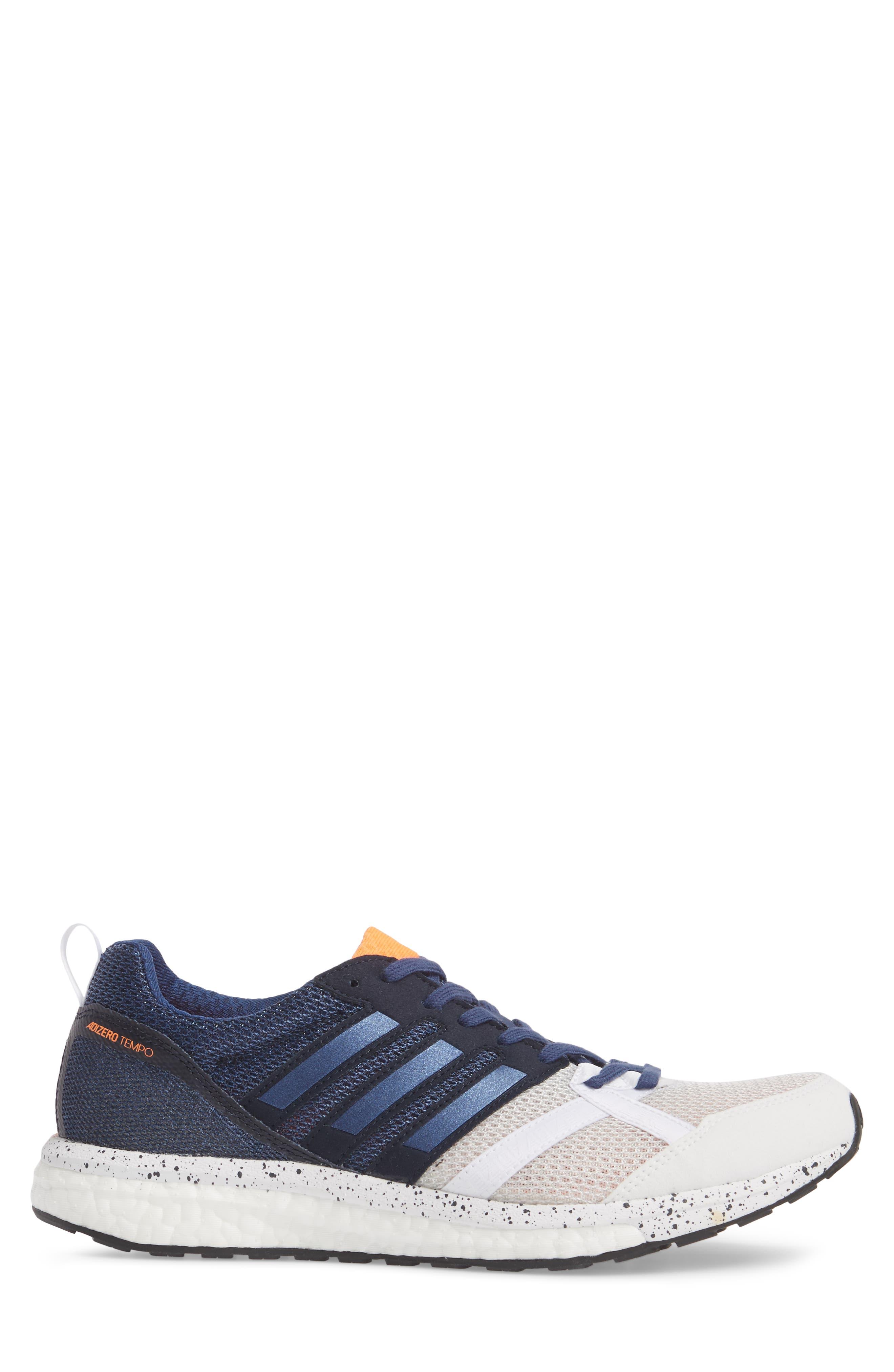 Adizero Tempo 9 M Running Shoe,                             Alternate thumbnail 3, color,                             White/ Indigo/ Core Black