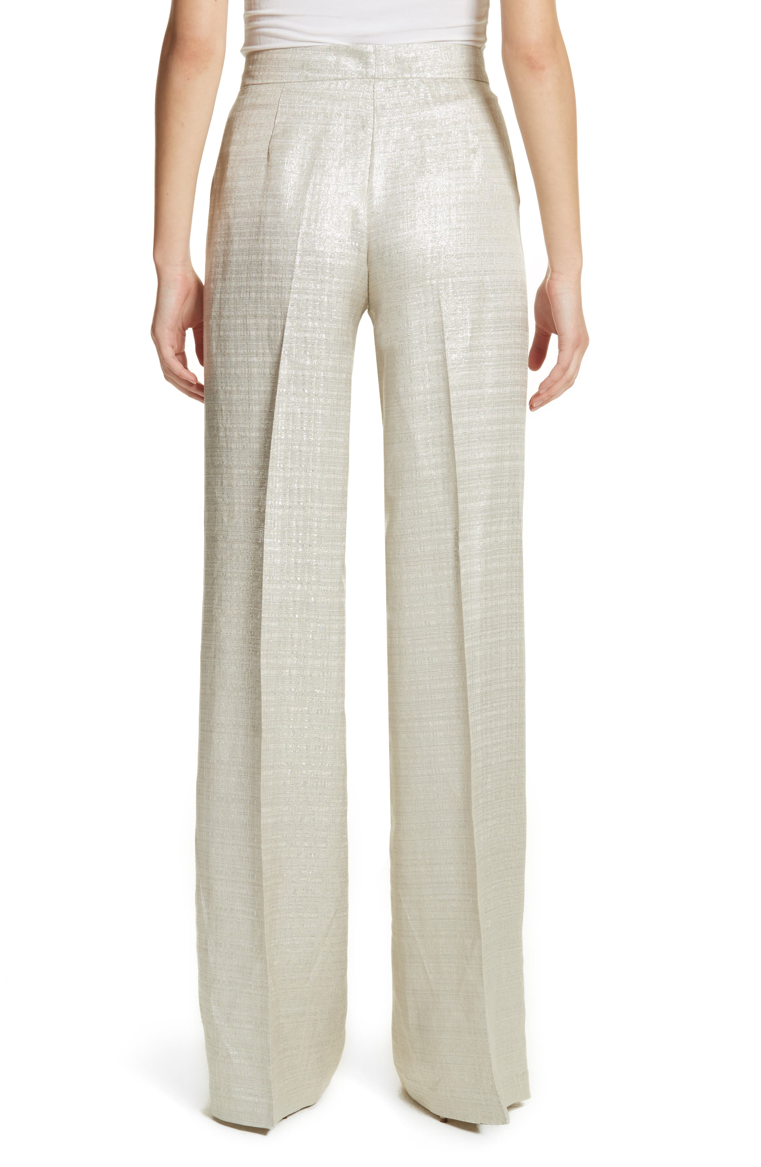 Metallic Wide Leg Pants,                             Alternate thumbnail 2, color,                             Silver