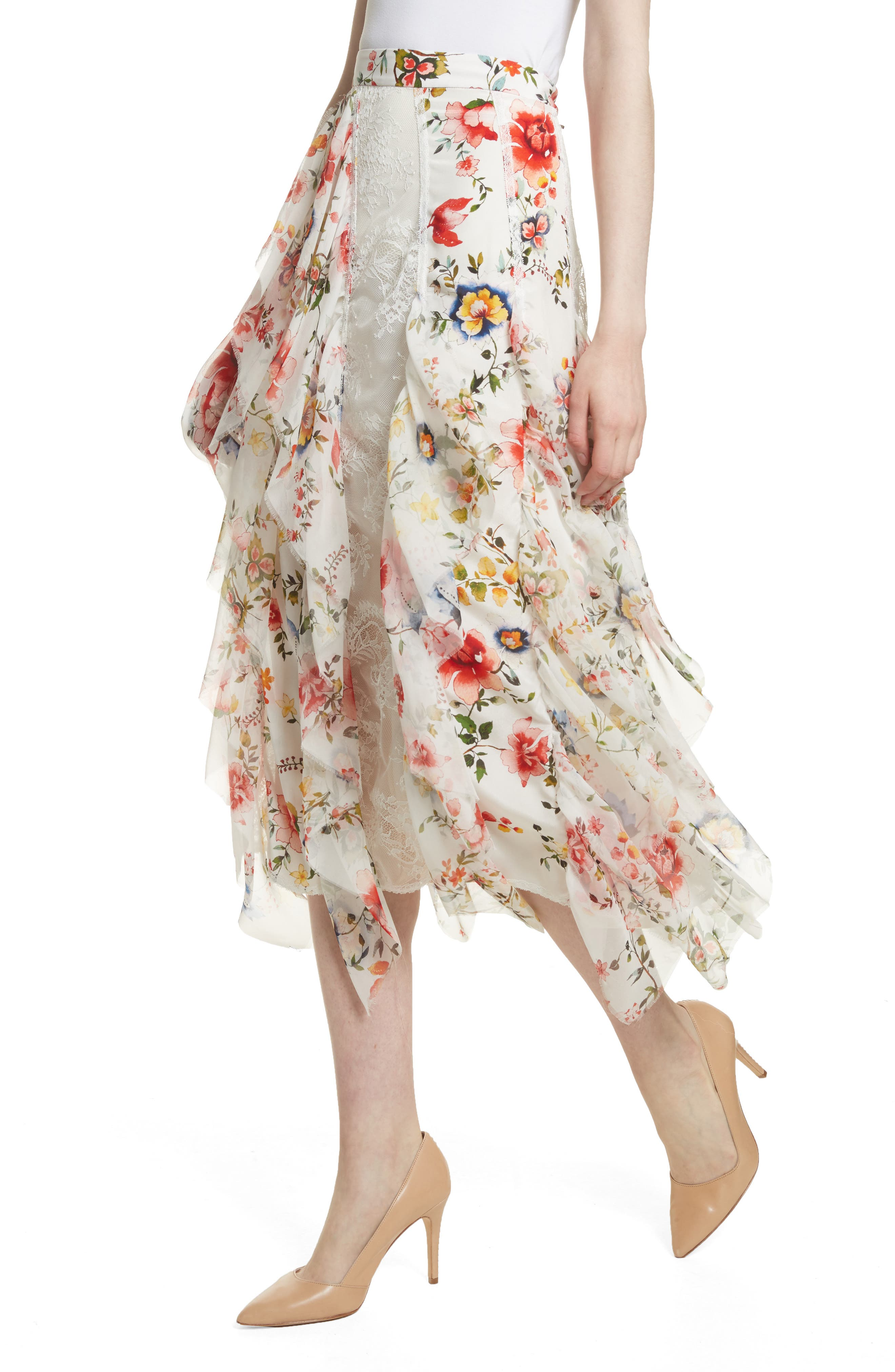 Yula Floral Silk & Lace Midi Skirt,                             Alternate thumbnail 4, color,                             Floral Soiree-Soft White
