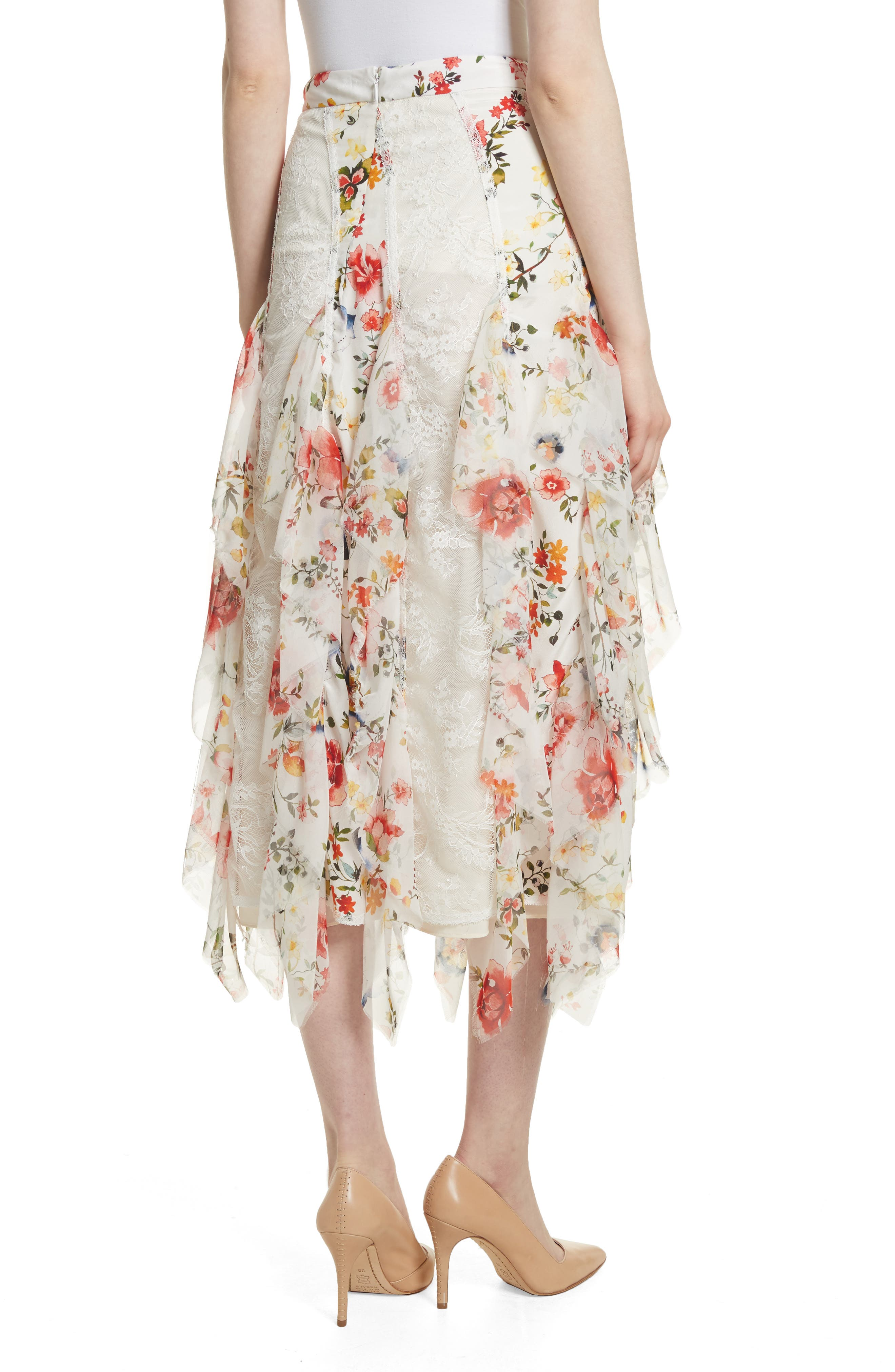 Yula Floral Silk & Lace Midi Skirt,                             Alternate thumbnail 2, color,                             Floral Soiree-Soft White